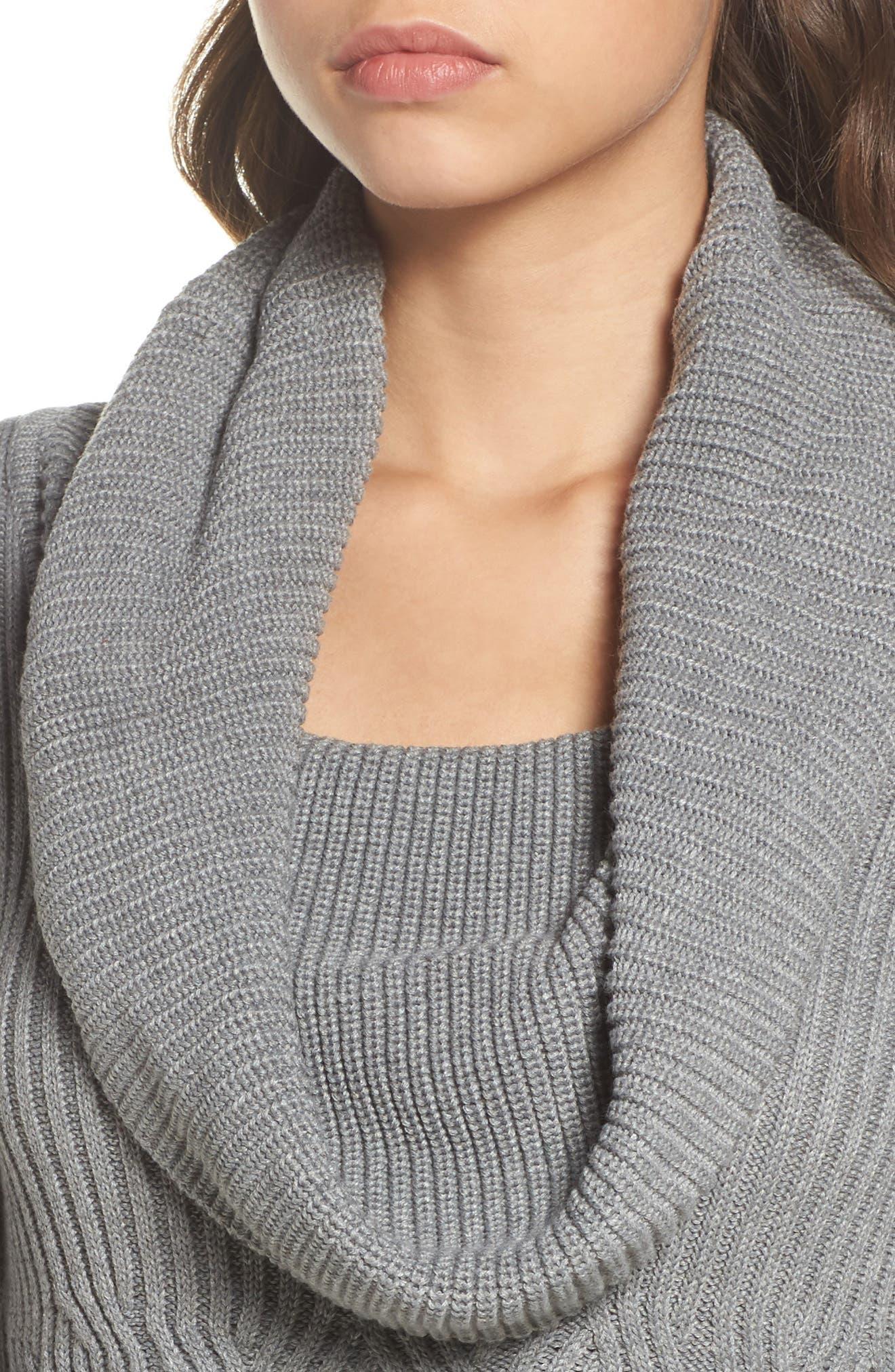 Cowl Neck Sweater Dress,                             Alternate thumbnail 4, color,                             030
