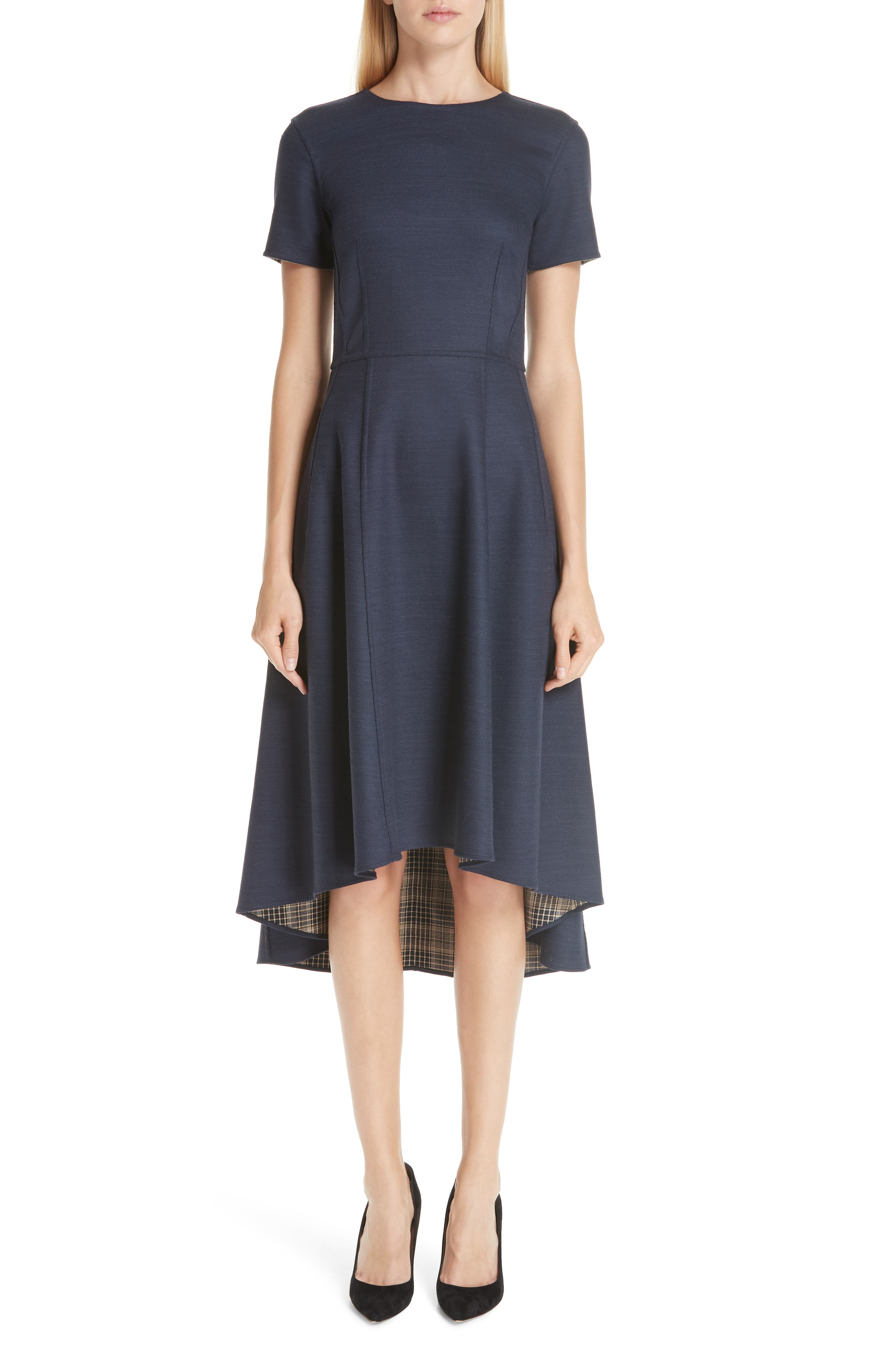 ADAM LIPPES Double Face High/Low Dress, Main, color, 410