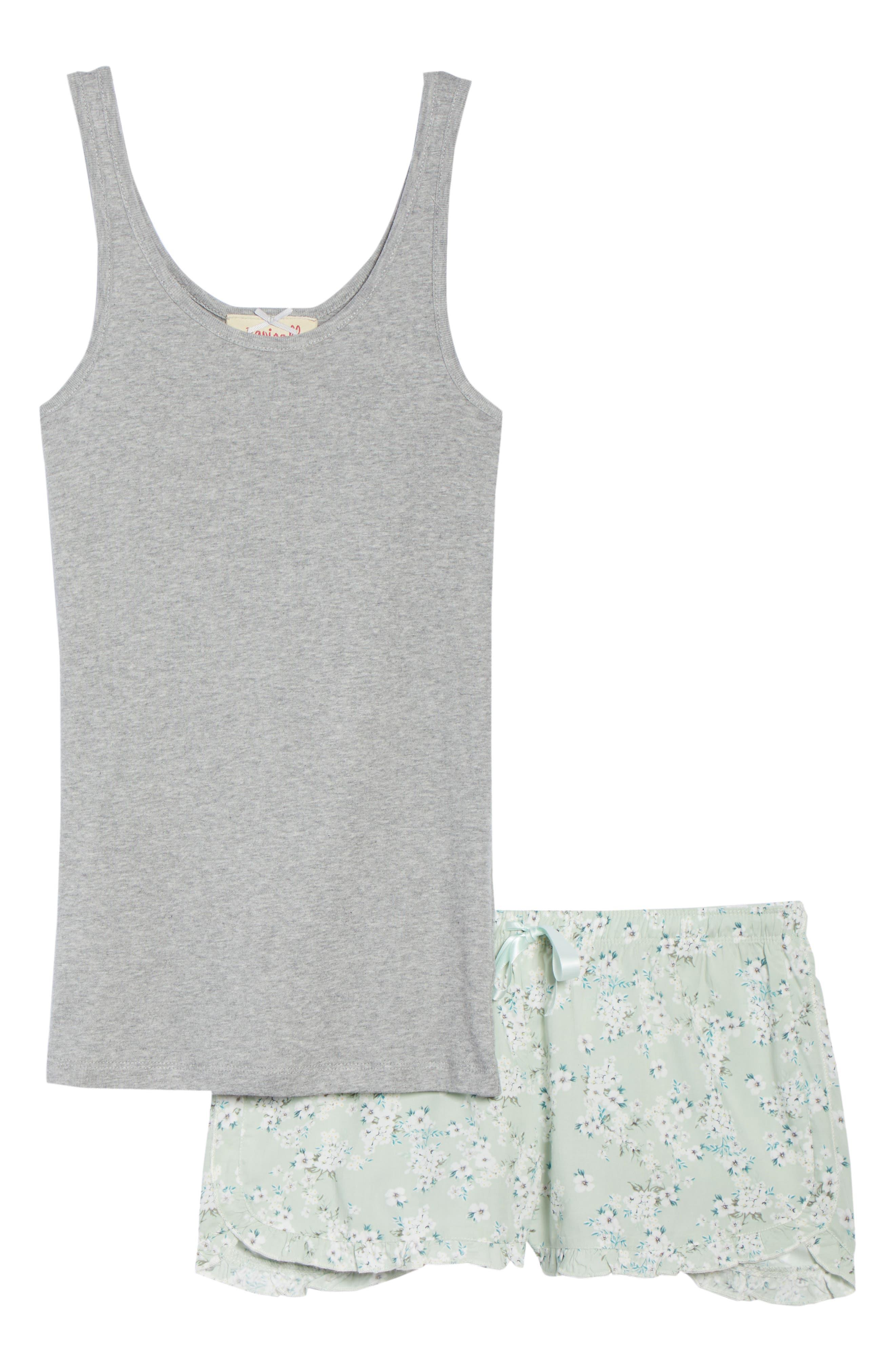 Tank & Boxers Pajamas,                             Alternate thumbnail 6, color,                             SAGE/ GREY