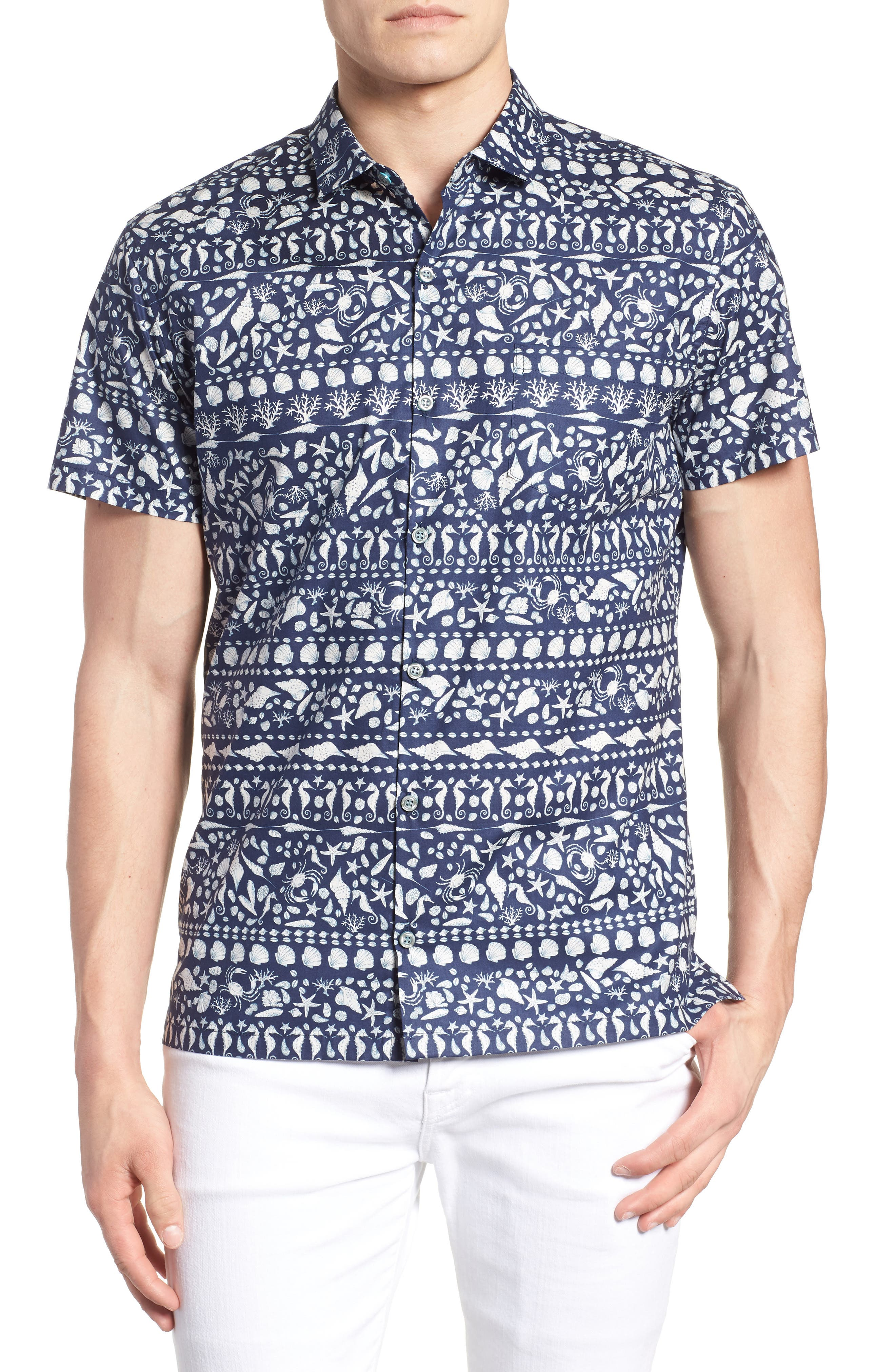 Lord Shells Trim Fit Camp Shirt,                         Main,                         color, NAVY