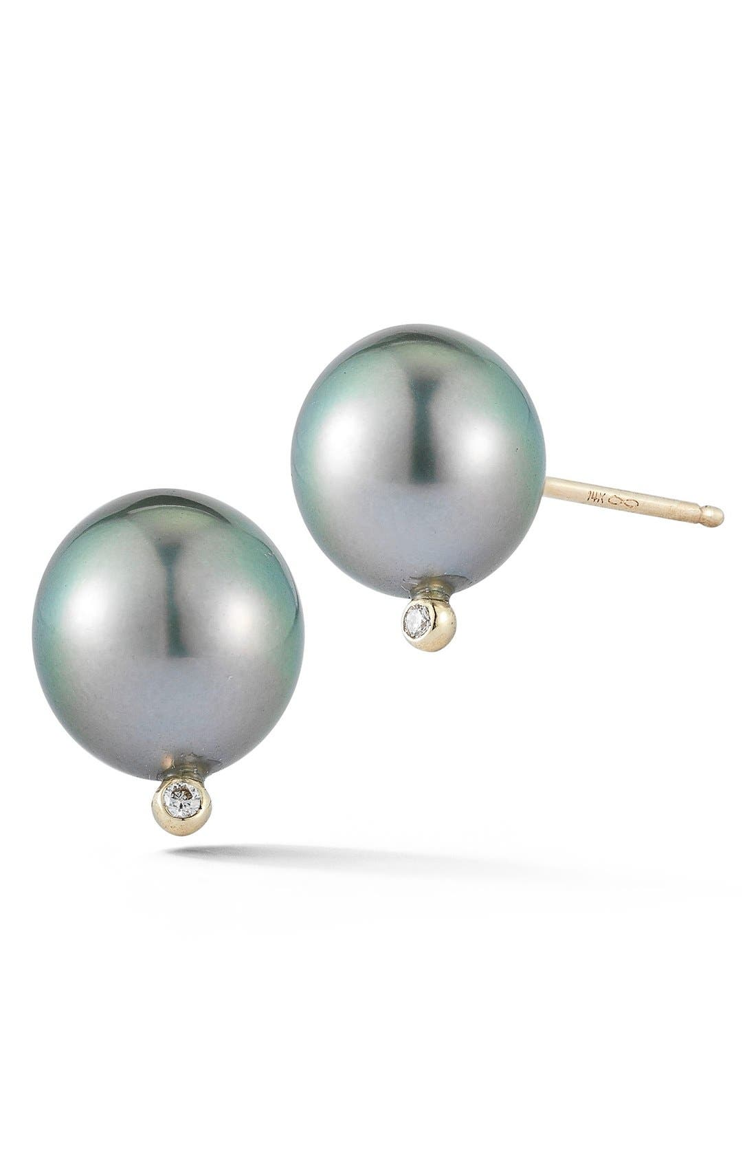 Pearl & Diamond Stud Earrings,                             Main thumbnail 1, color,                             BLACK PEARL