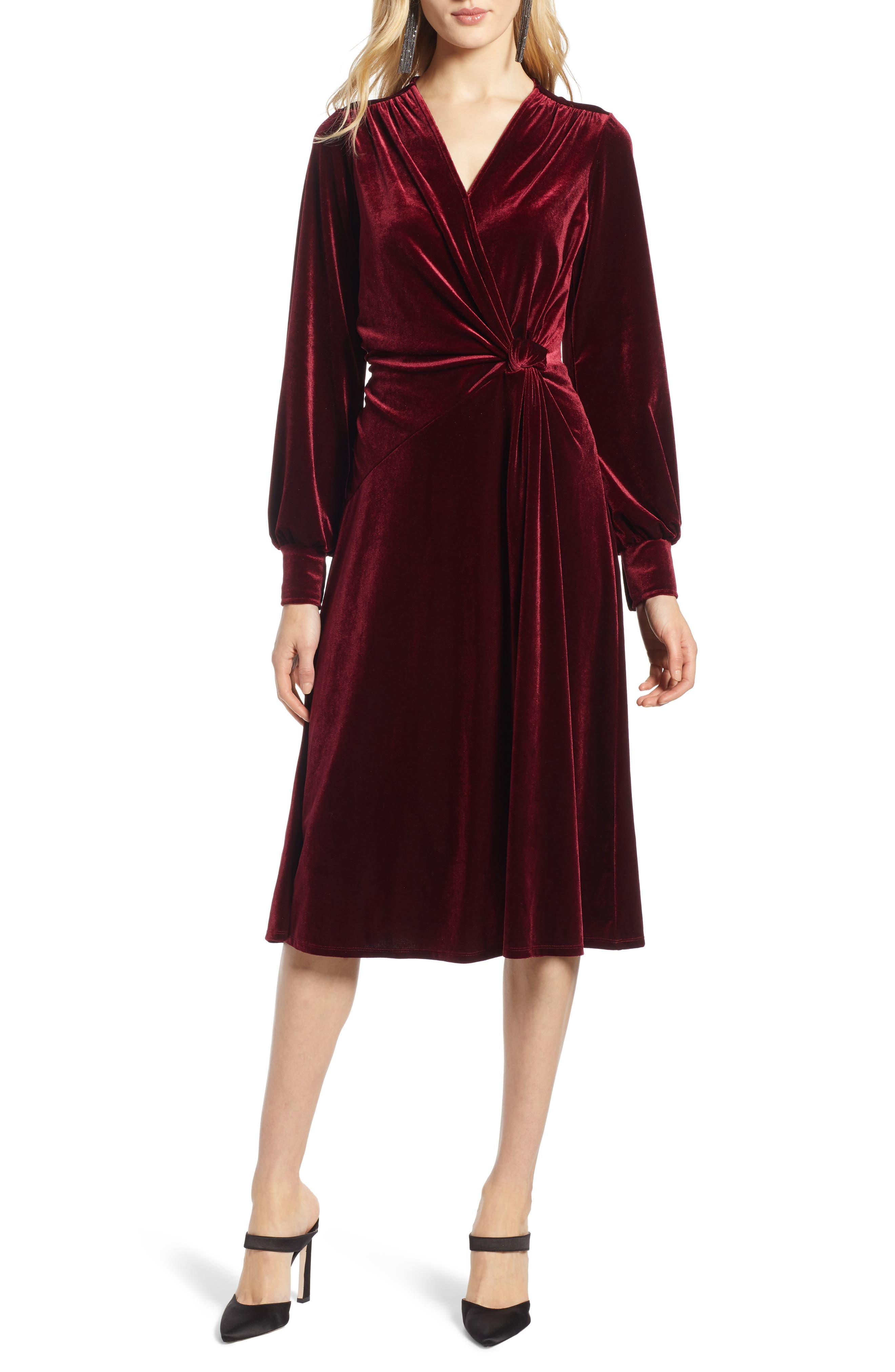 Petite Halogen Velvet Faux Wrap Dress, Red