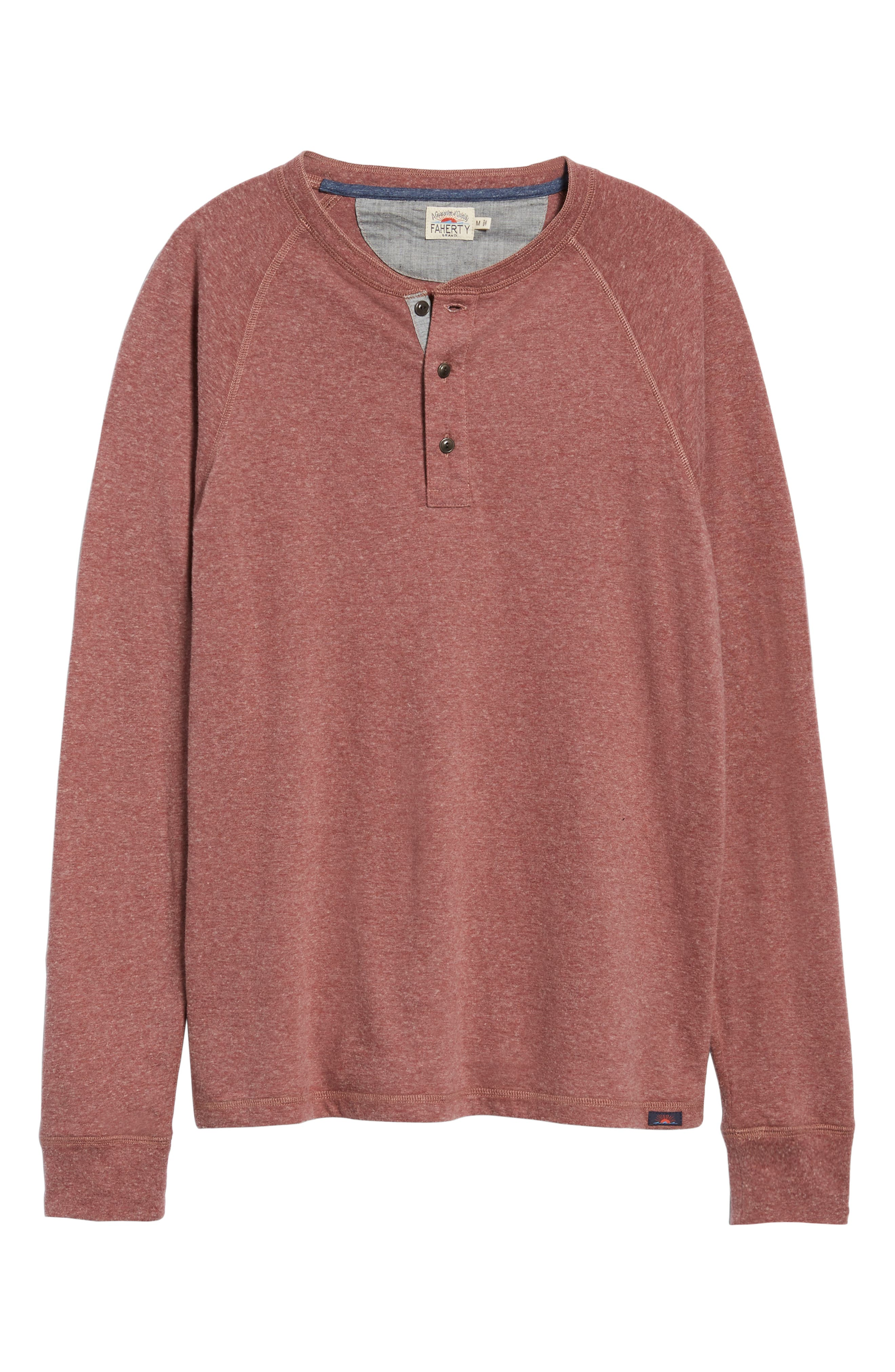 Luxe Heather Knit Organic Cotton Henley,                             Alternate thumbnail 6, color,                             BURGUNDY