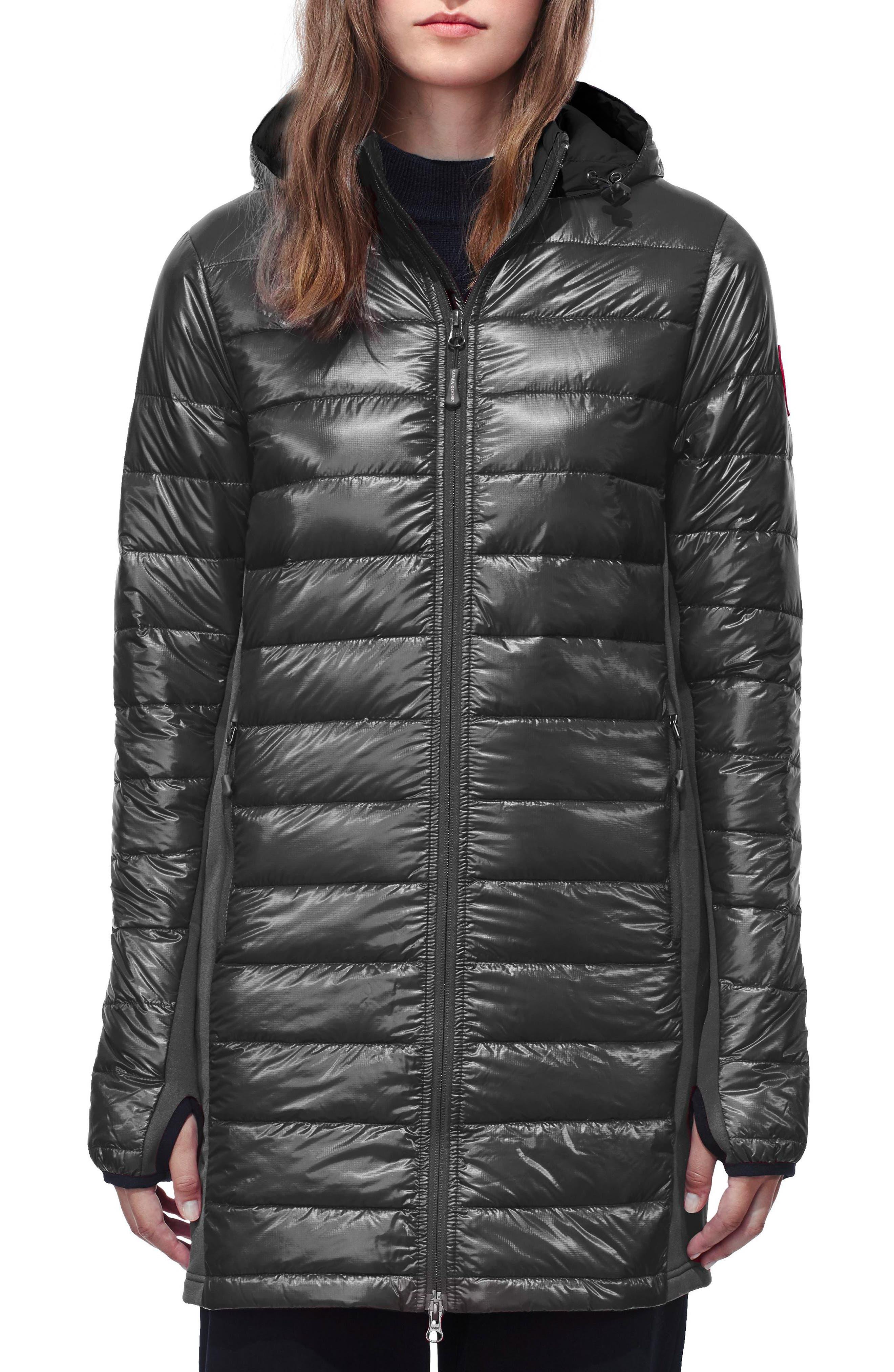 Hybridge Lite Slim Fit Hooded Packable Goose Down Coat,                             Main thumbnail 1, color,                             GRAPHITE/ BLACK