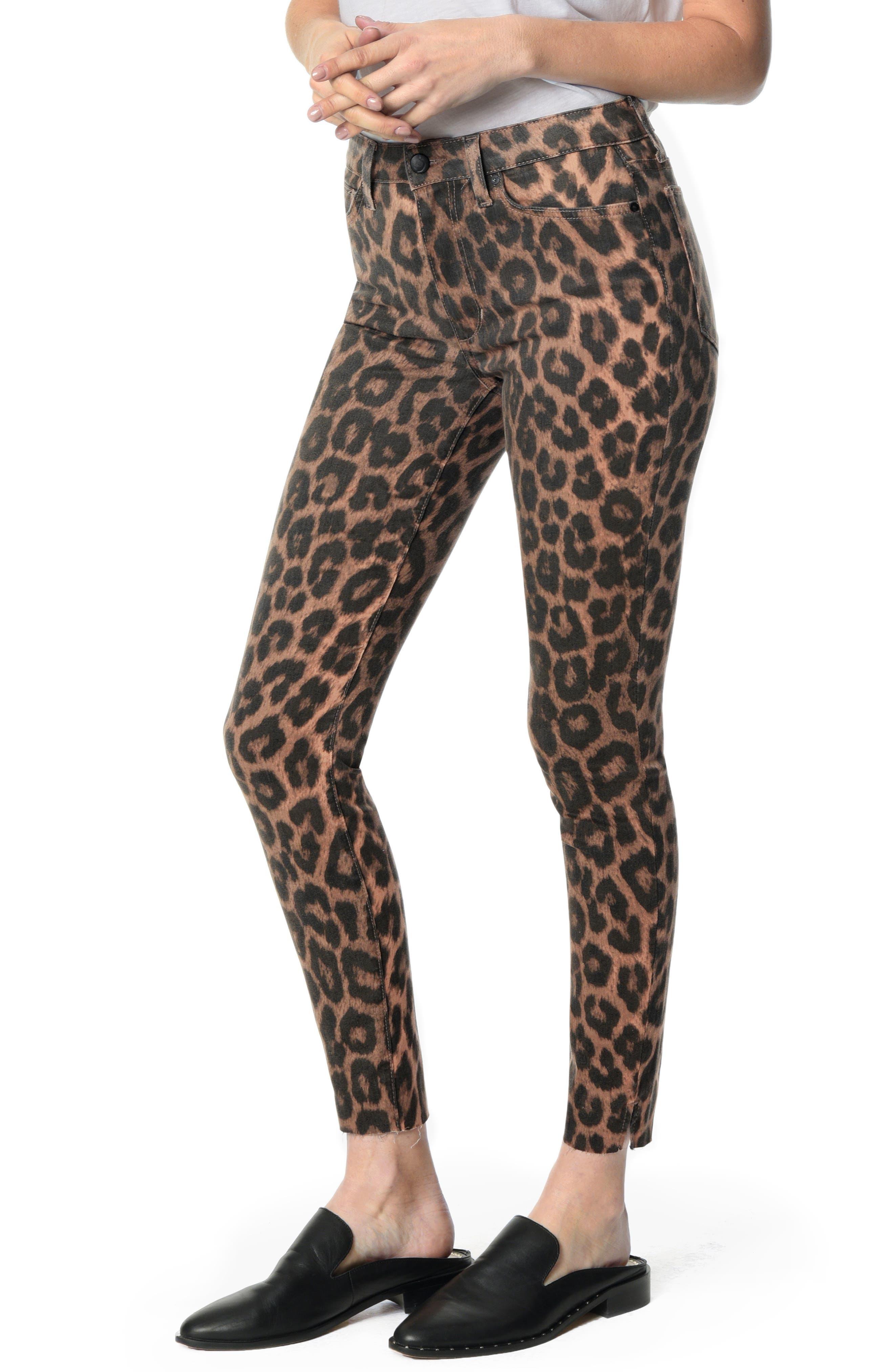 Charlie Ankle Slit Skinny Jeans,                         Main,                         color, LEOPARD PRINT