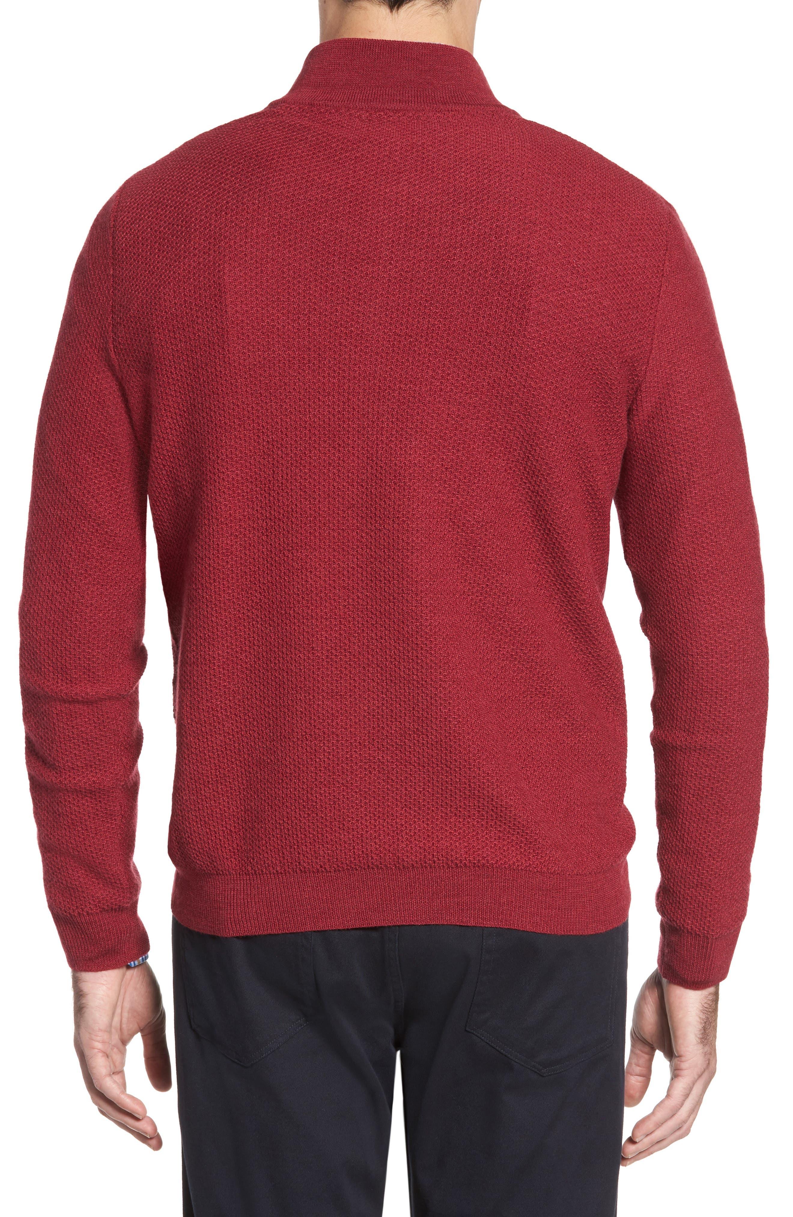 Honeycomb Merino Wool Quarter Zip Pullover,                             Alternate thumbnail 6, color,