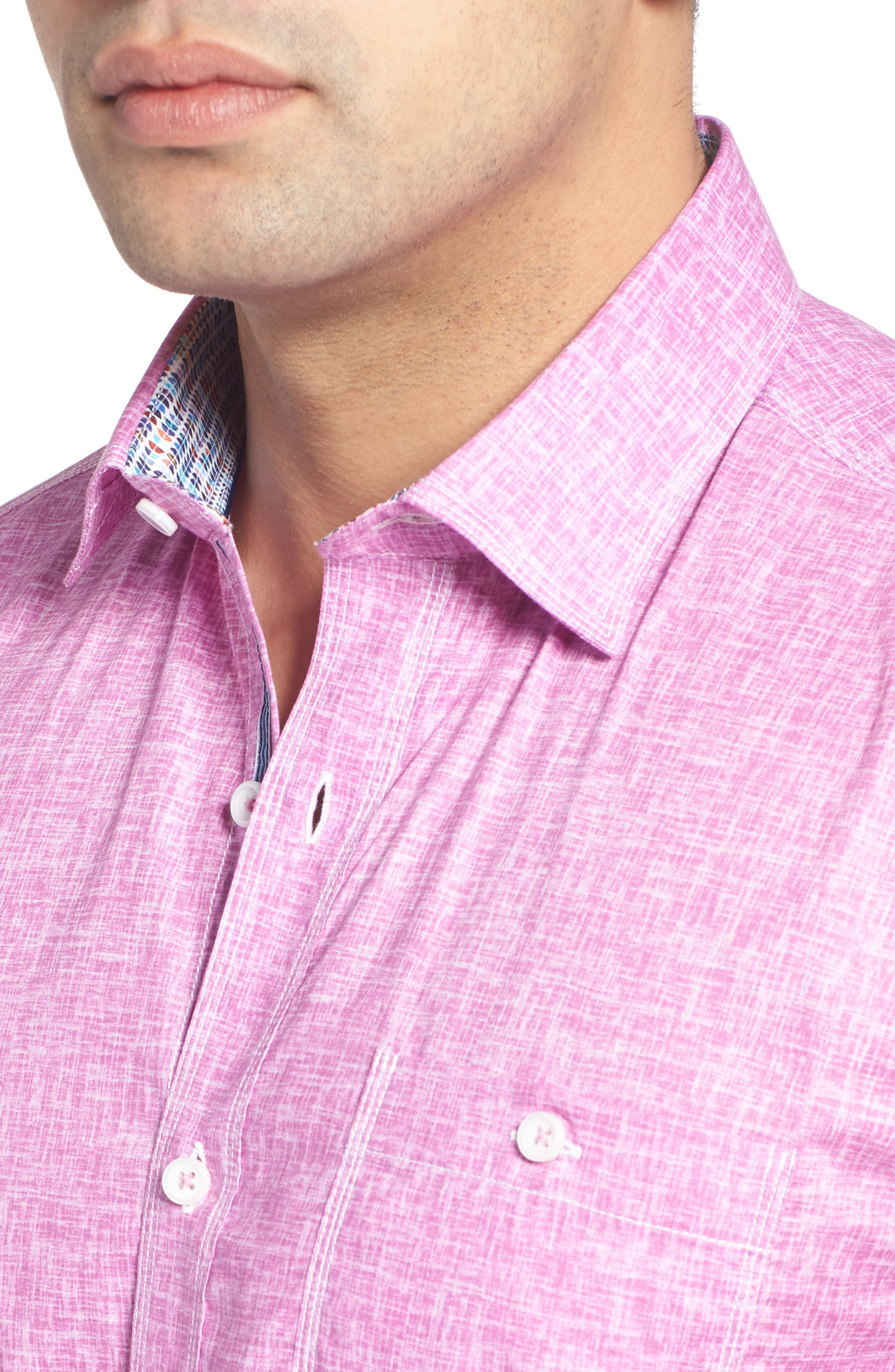 Shaped Fit Solid Sport Shirt,                             Alternate thumbnail 18, color,