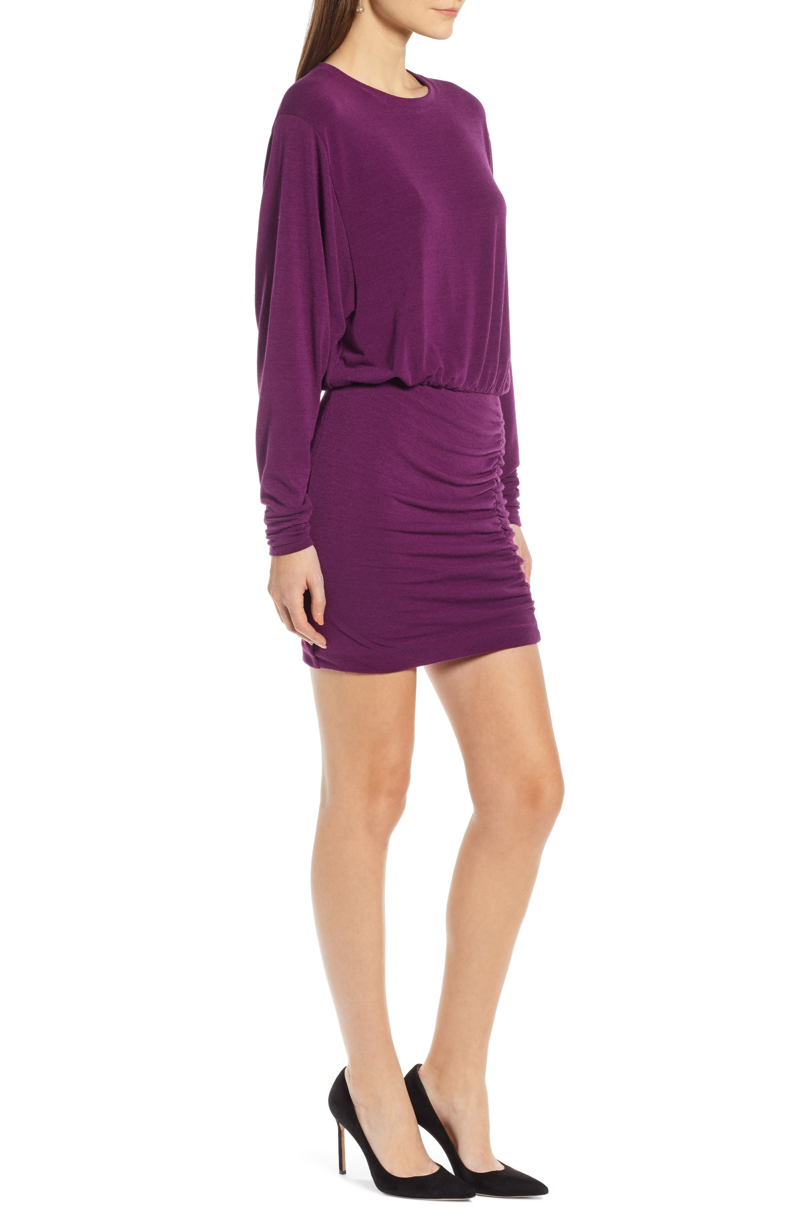 Ruched Detail Dress,                             Alternate thumbnail 3, color,                             PURPLE IMPERIAL