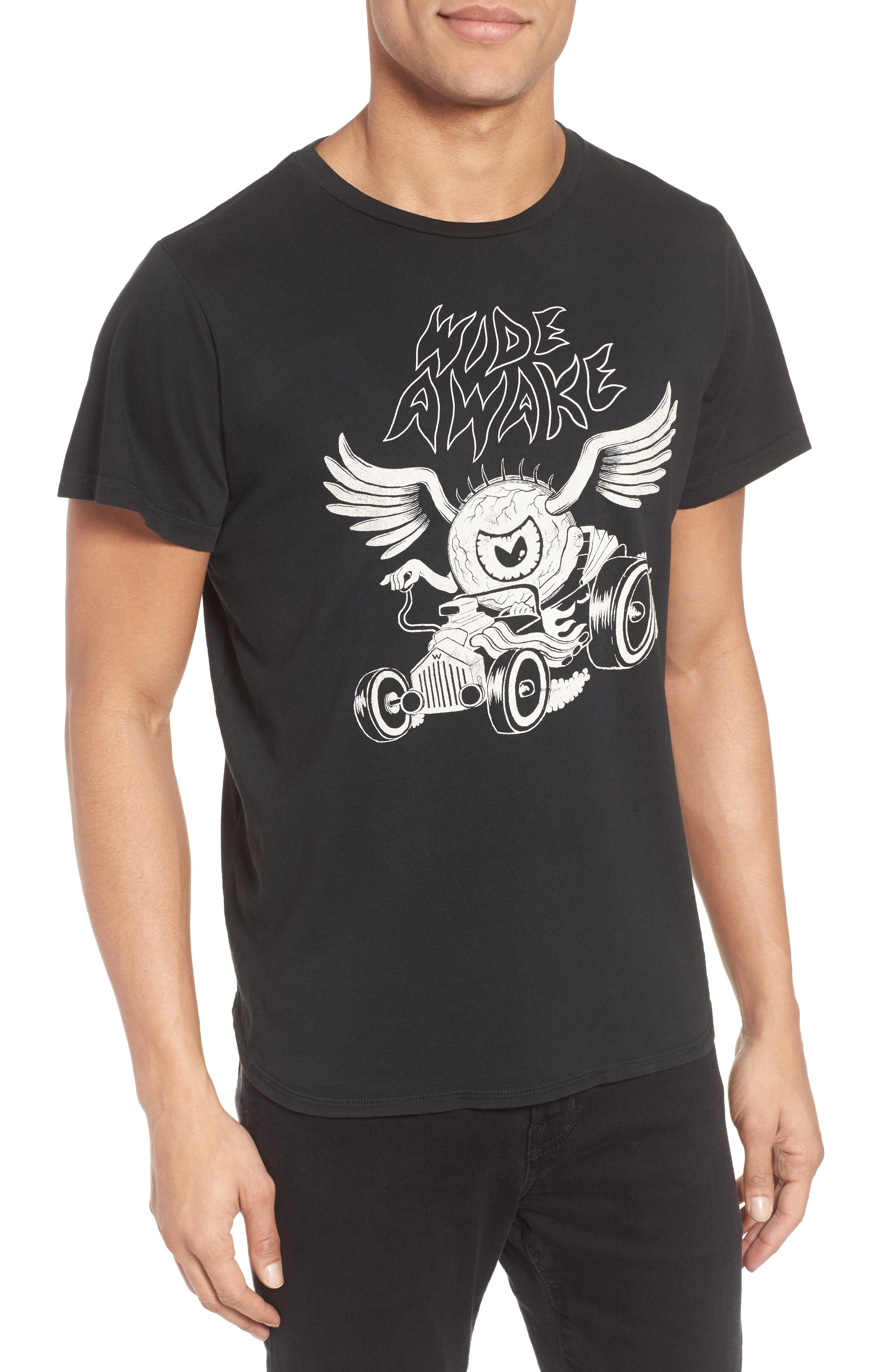 Wide Awake Graphic T-Shirt,                             Main thumbnail 1, color,                             DUSTY BLACK