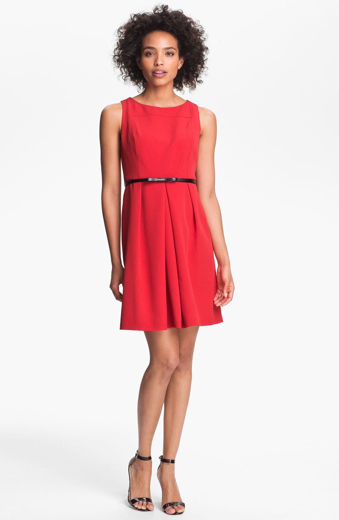 ADRIANNA PAPELL Seamed A-Line Dress, Main, color, 600