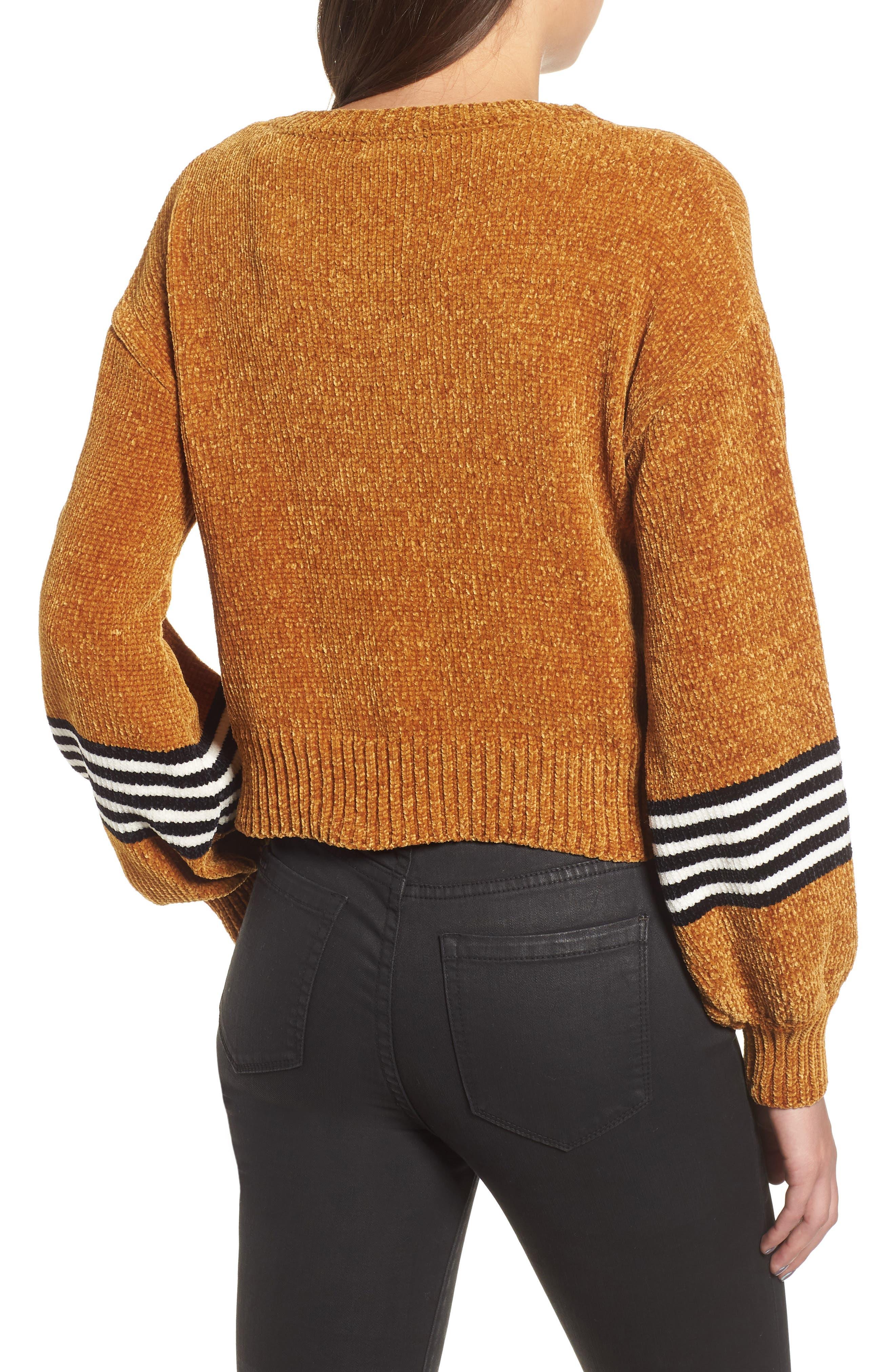 Stripe Sleeve Chenille Sweater,                             Alternate thumbnail 2, color,                             700