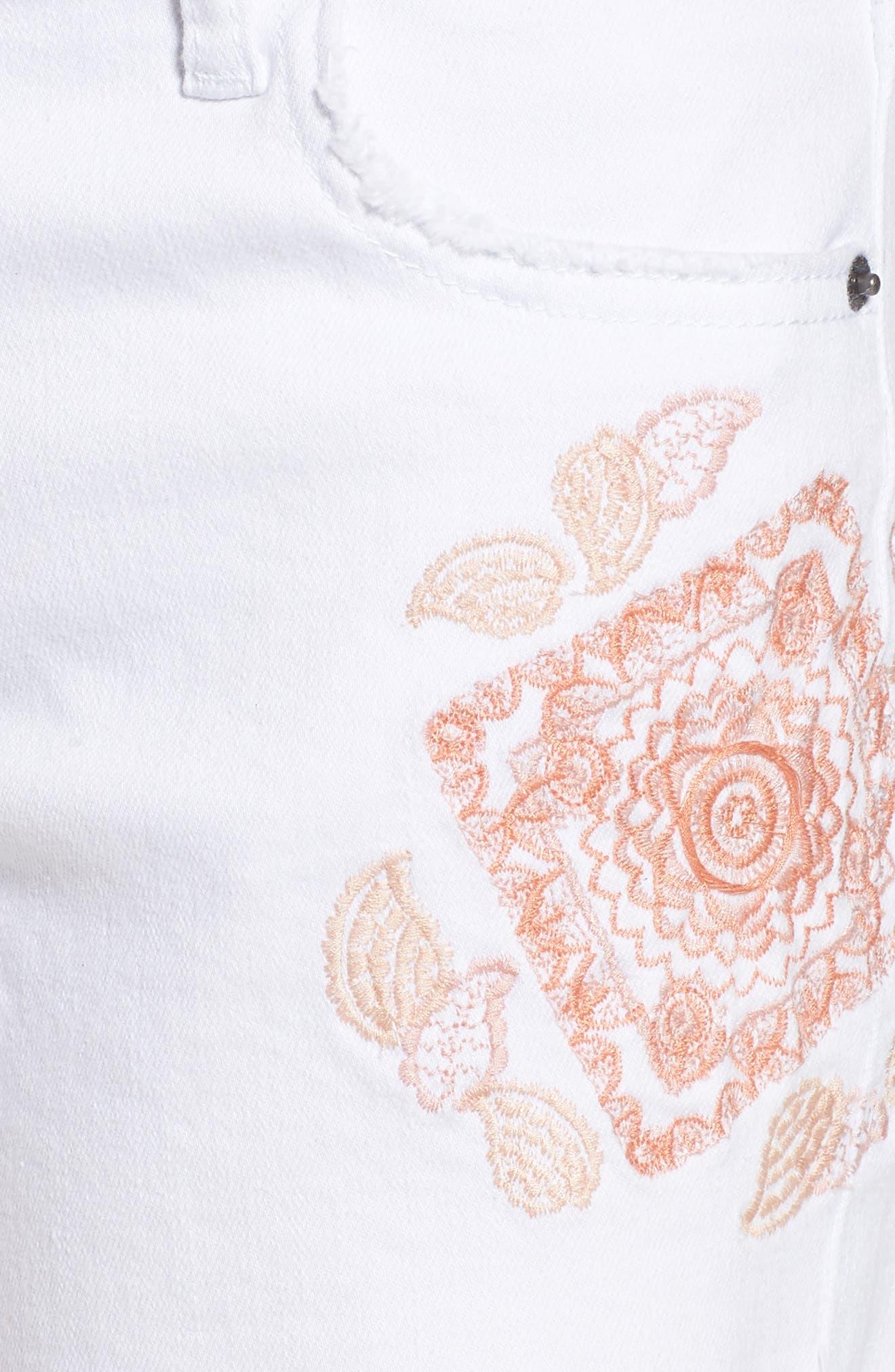 Embroidered Denim Shorts,                             Alternate thumbnail 6, color,                             100