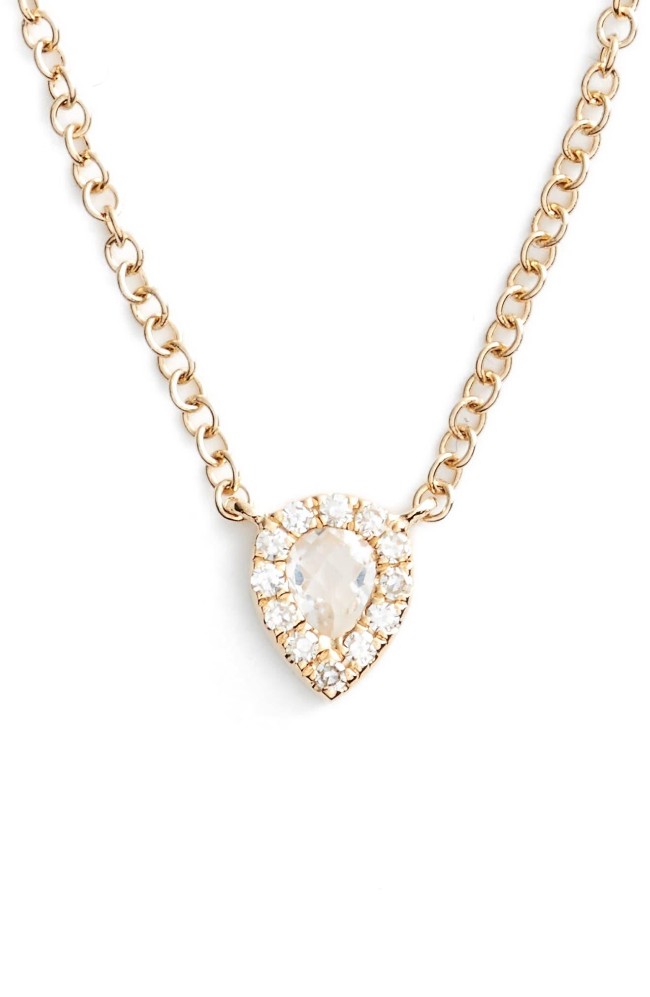 Diamond & Topaz Teardrop Pendant Necklace,                             Main thumbnail 1, color,                             YELLOW GOLD