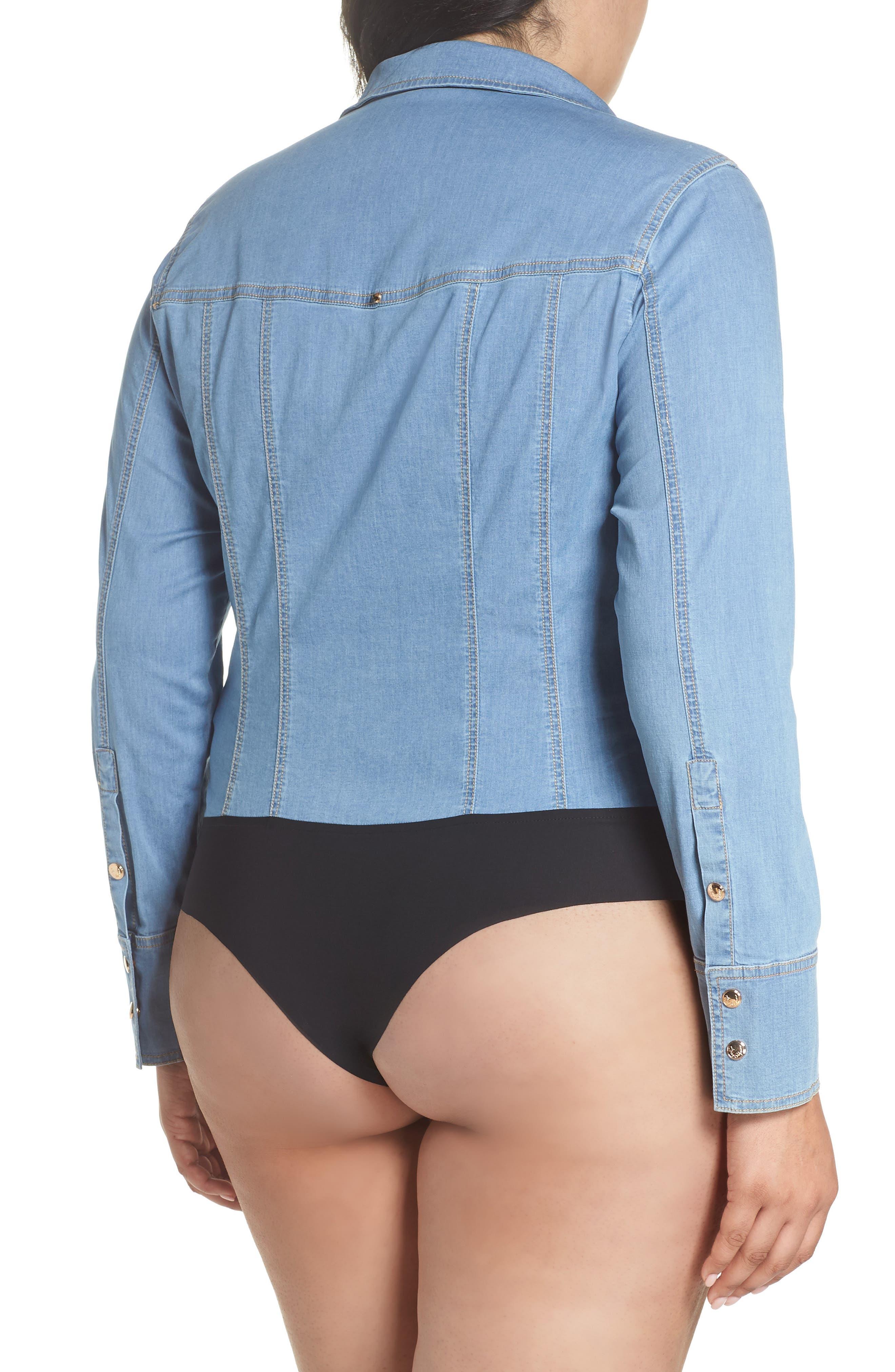 Bangkok Denim Shirt Bodysuit,                             Alternate thumbnail 3, color,                             454