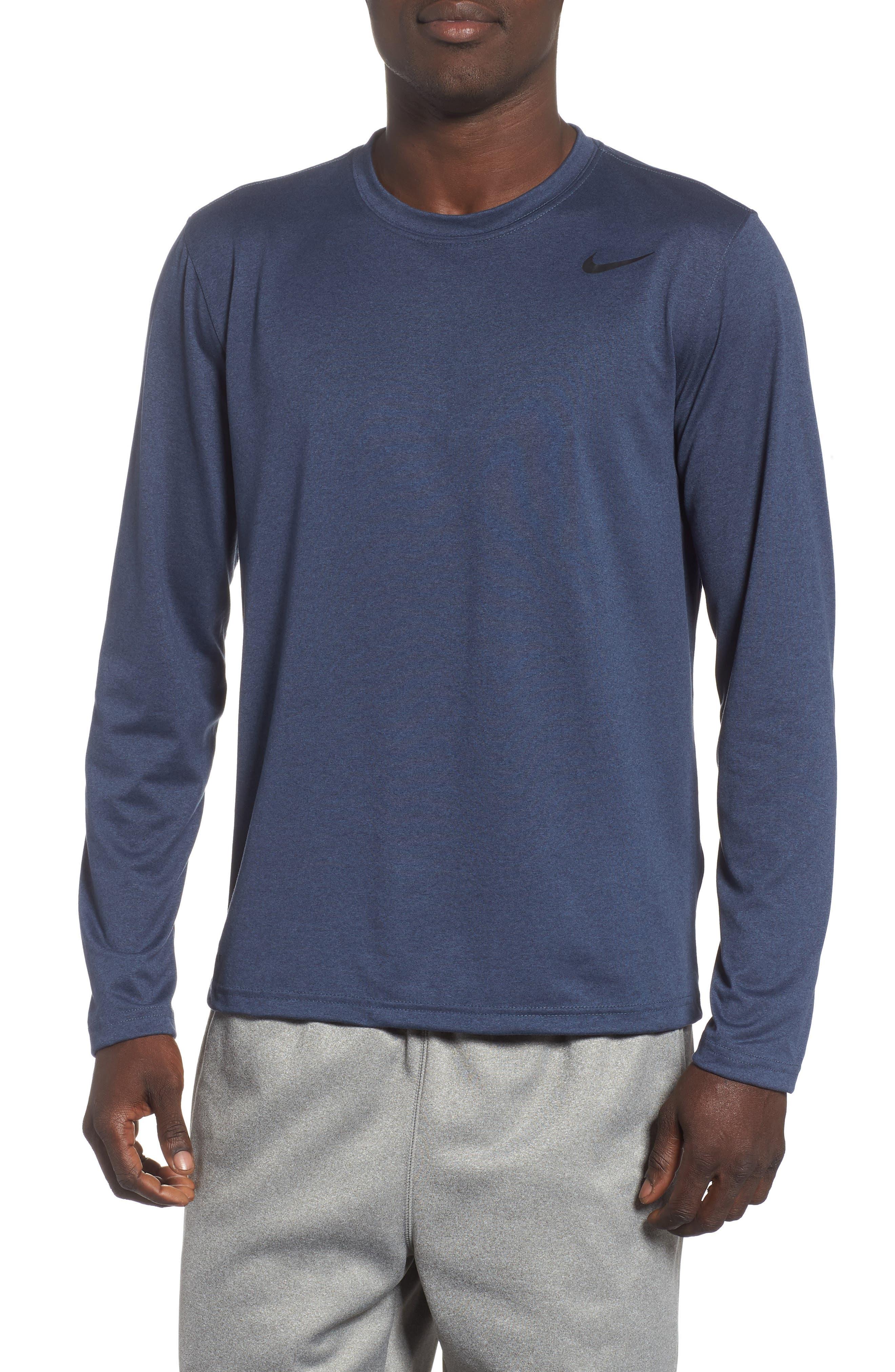 'Legend 2.0' Long Sleeve Dri-FIT Training T-Shirt,                         Main,                         color, THUNDER BLUE/ BLACK