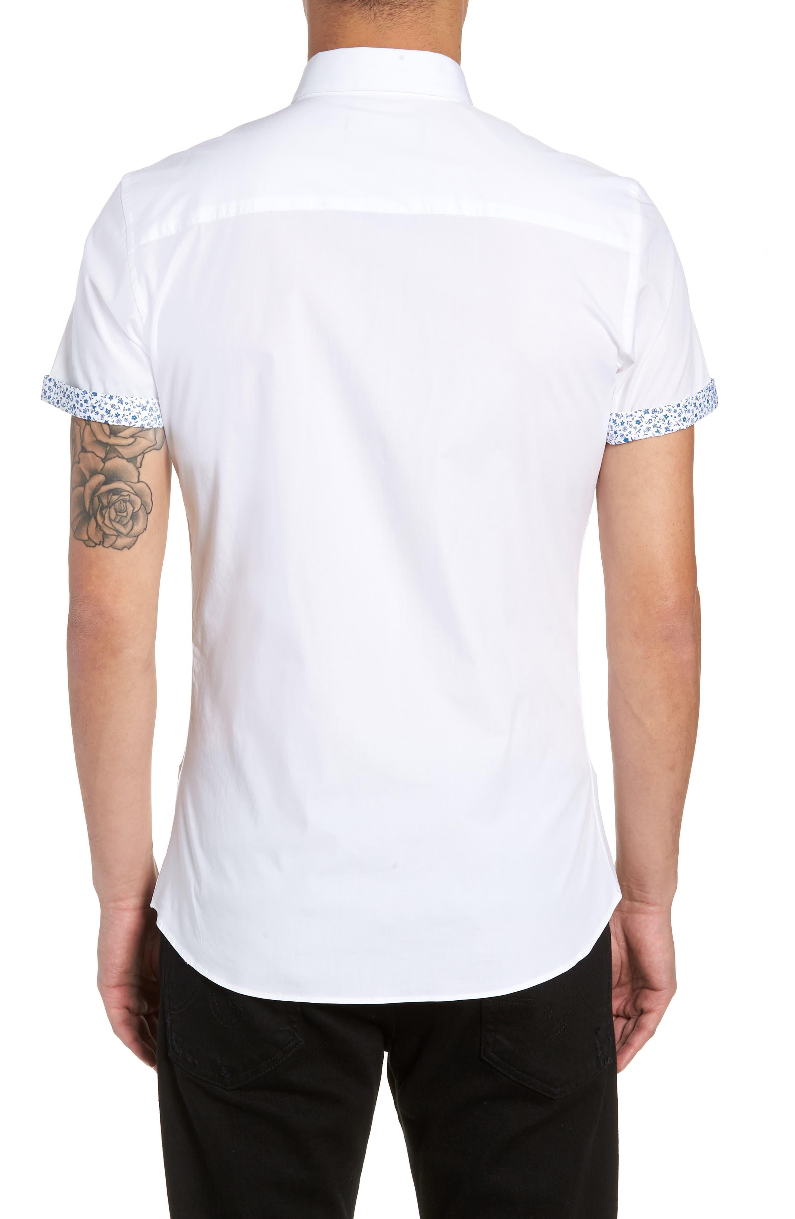 Slim Fit Flower Cuff Shirt,                             Alternate thumbnail 3, color,                             WHITE MULTI