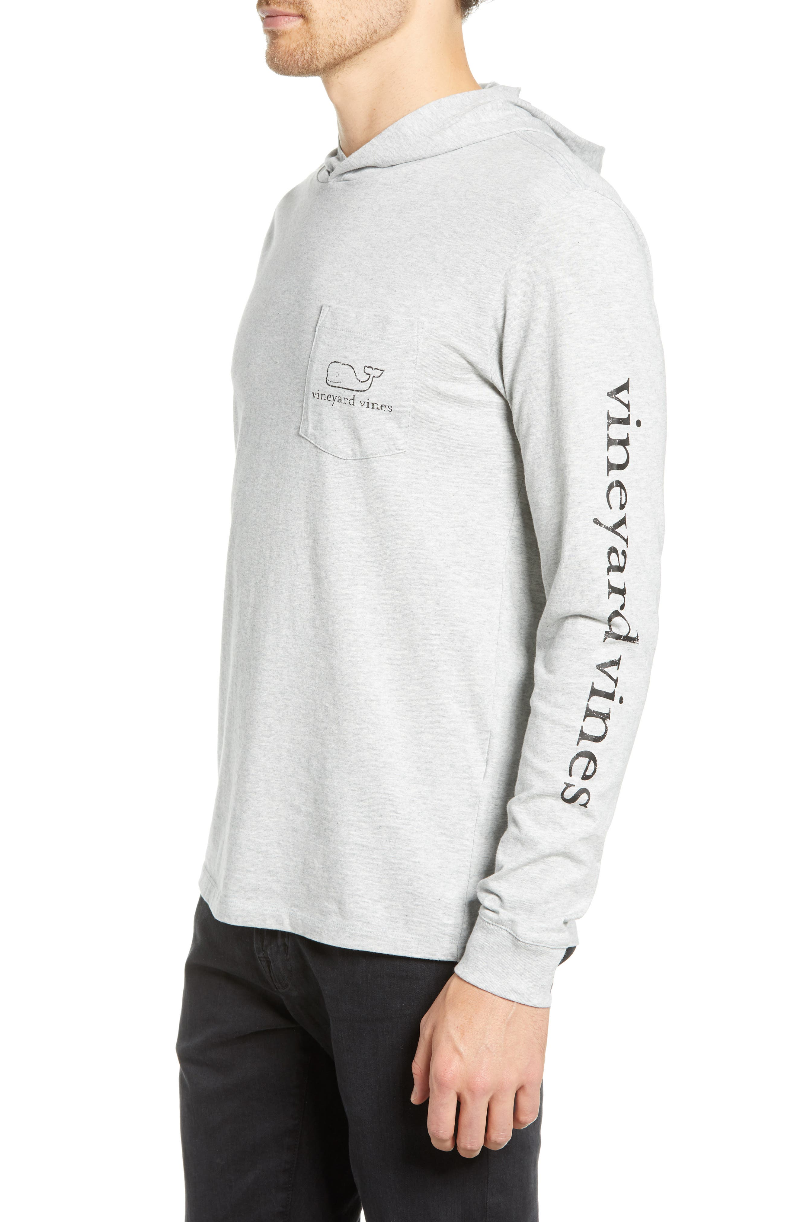 Whale Graphic Long Sleeve Hooded T-Shirt,                             Alternate thumbnail 3, color,                             GREY HEATHER