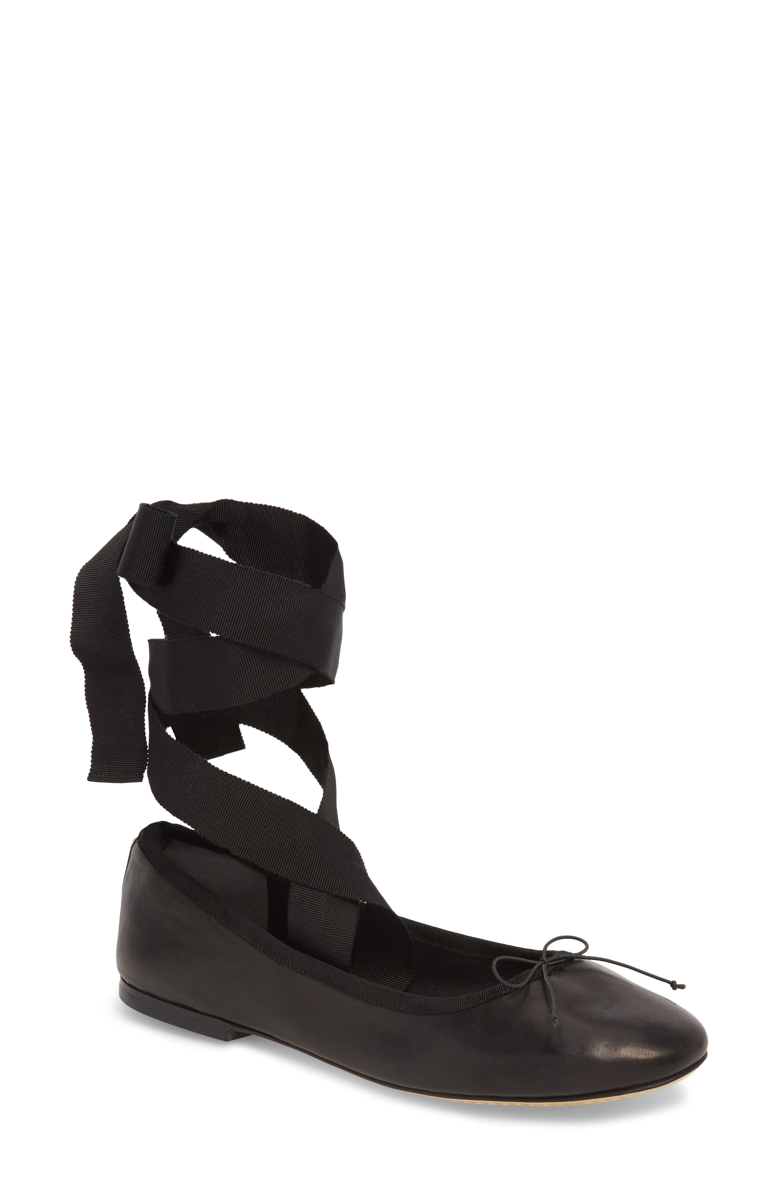 Elodie Lace-Up Ballet Flat,                         Main,                         color, PERFECT BLACK