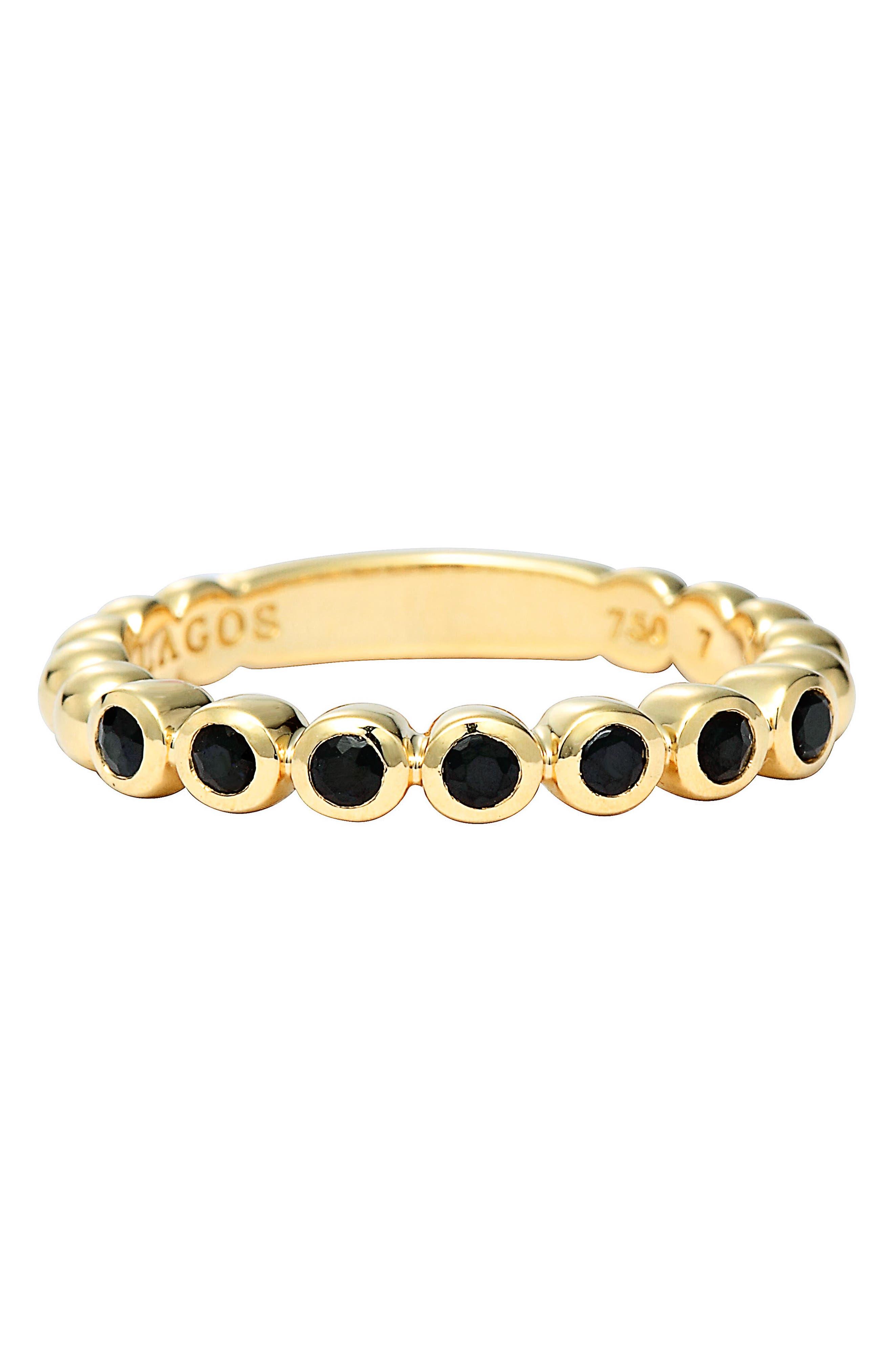 Covet Stone Caviar Stack Ring,                             Alternate thumbnail 3, color,                             GOLD/ BLACK SAPPHIRE