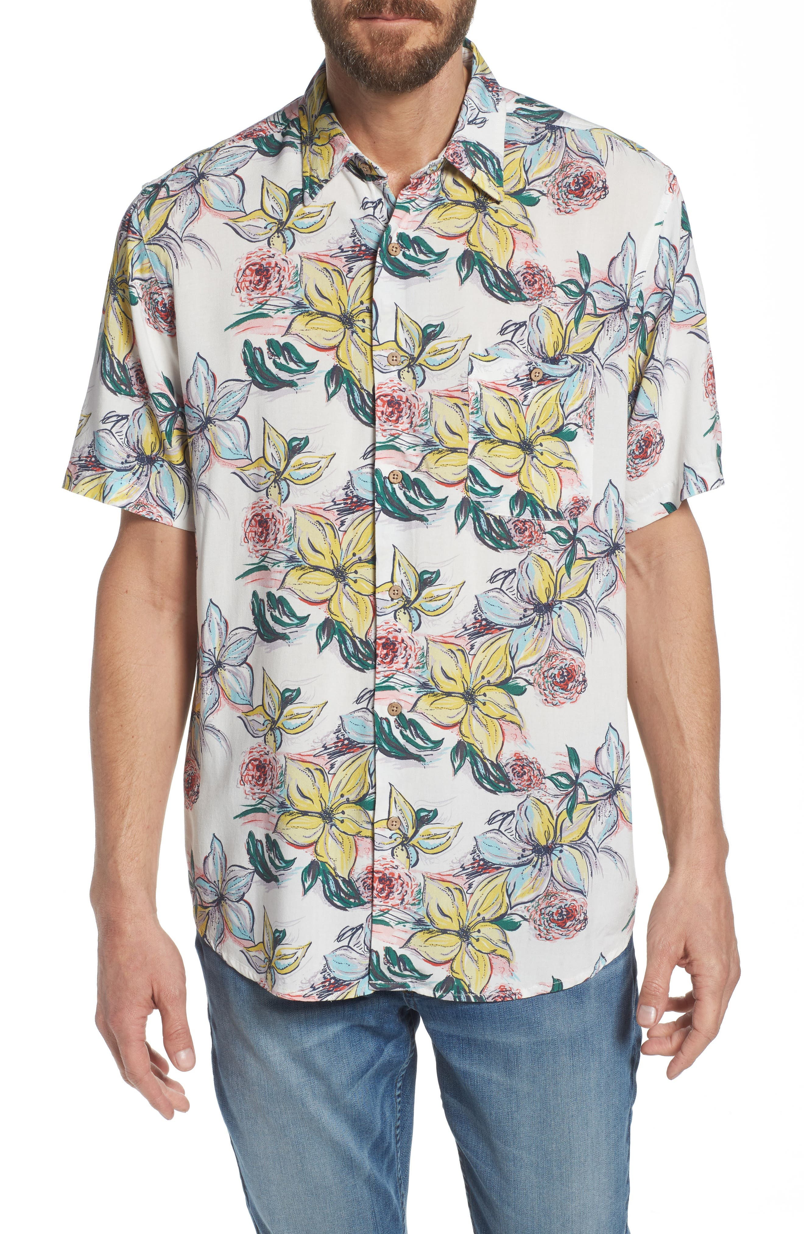 Hawaiian Print Sport Shirt,                         Main,                         color, 400