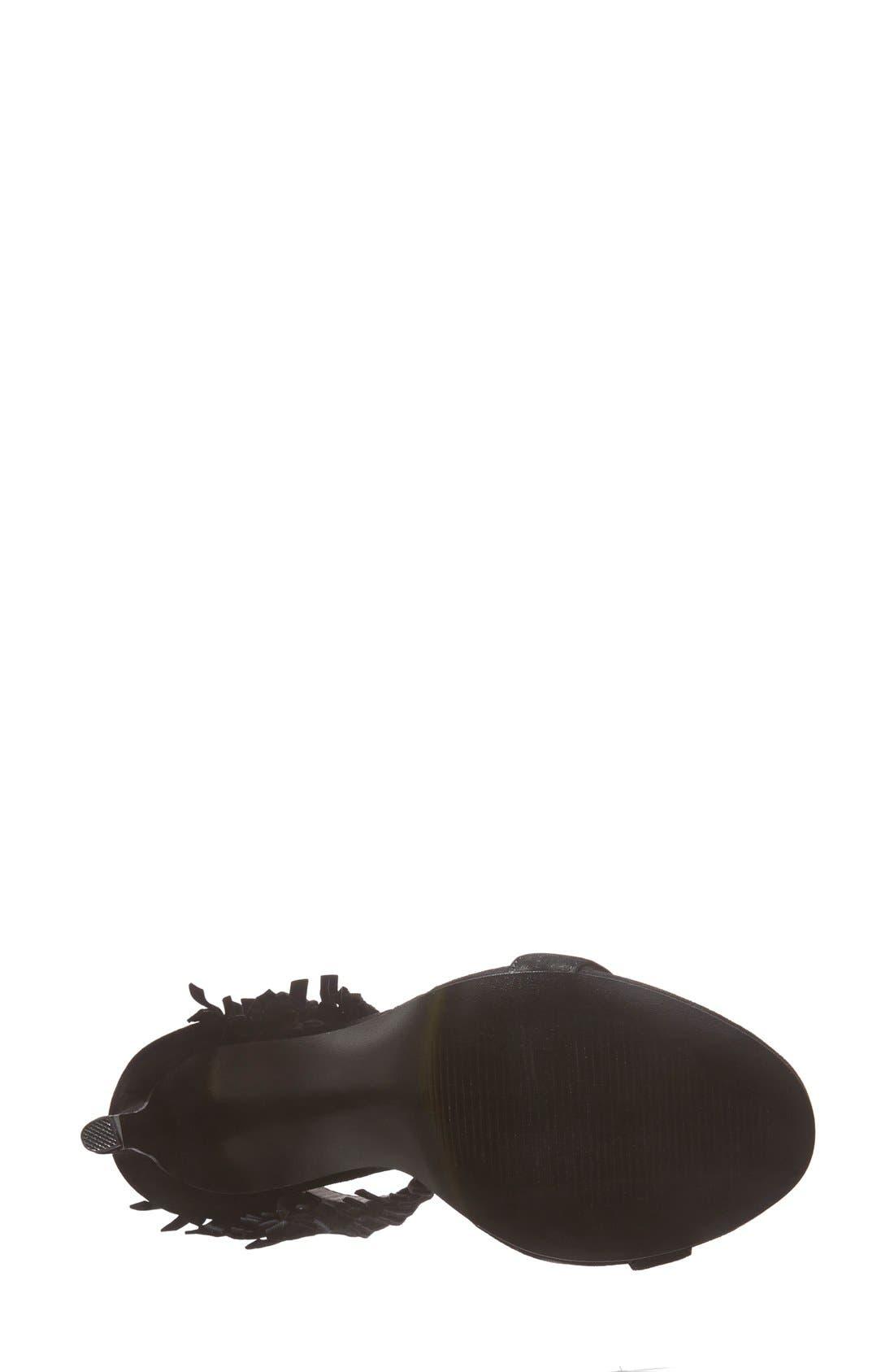 'Staarz' Ankle Fringe Sandal,                             Alternate thumbnail 6, color,                             006