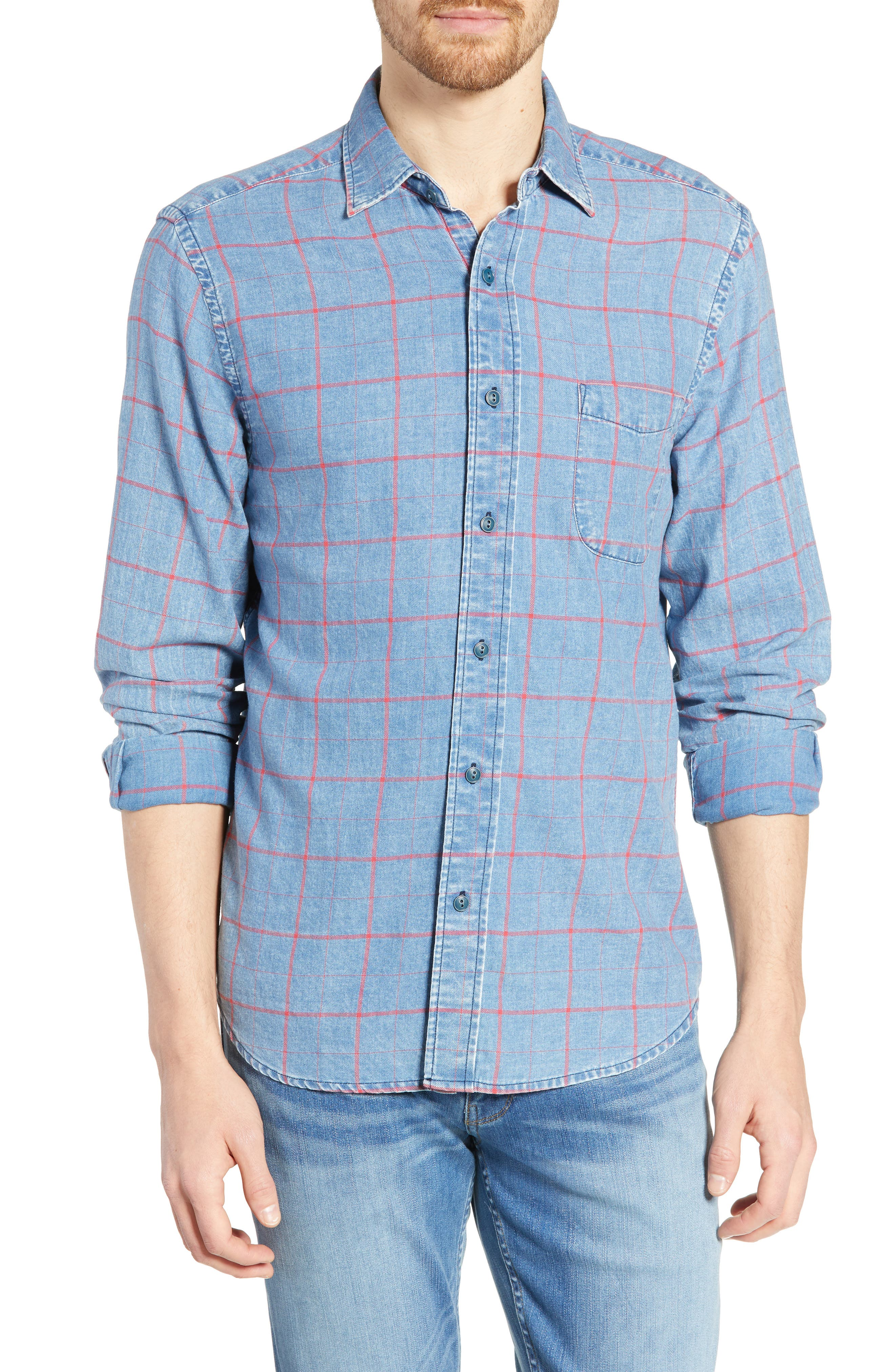 Faherty Everyday Regular Fit Windowpane Cotton Sport Shirt, Blue