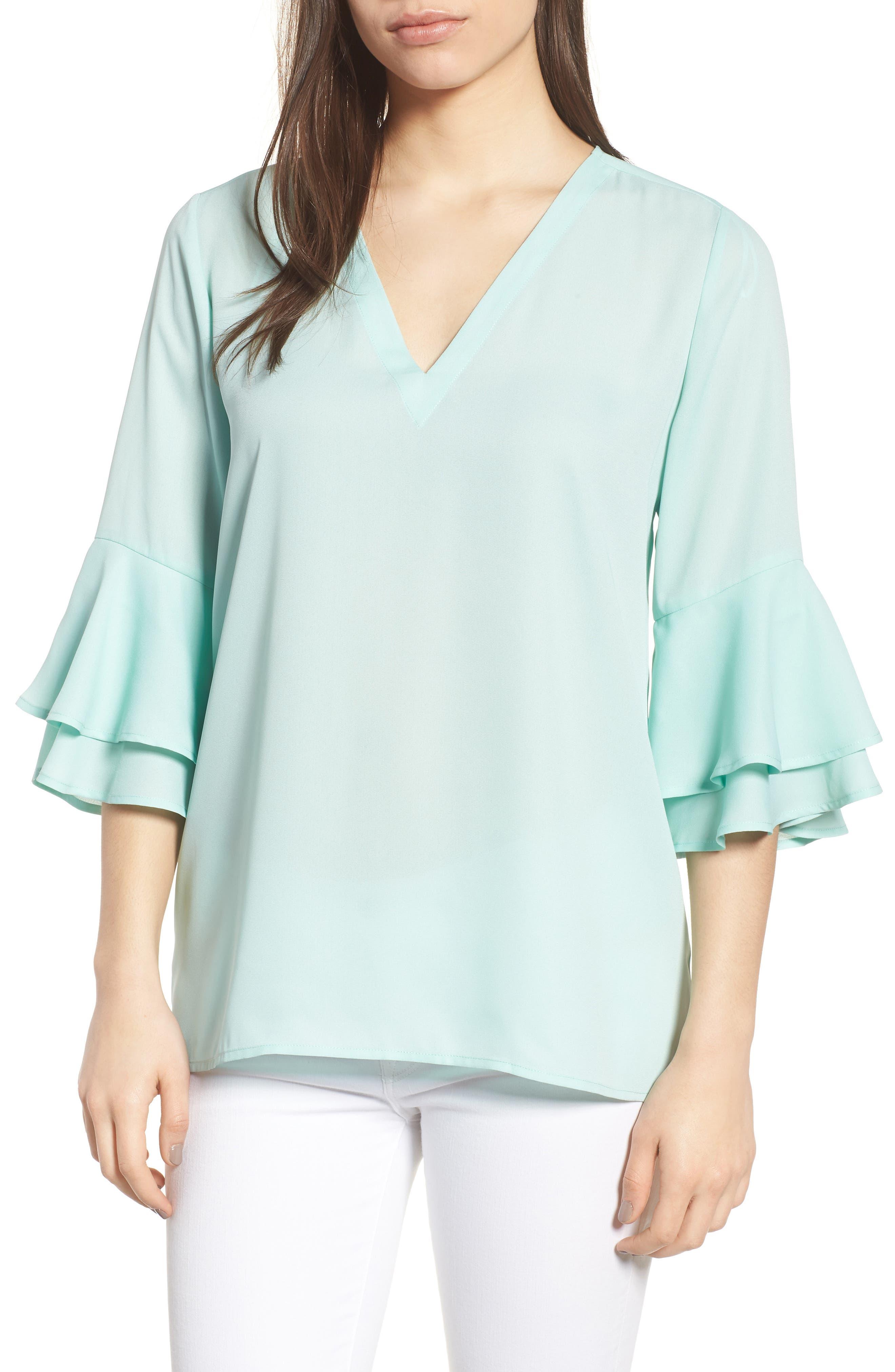 Ruffle Sleeve V-Neck Blouse,                         Main,                         color, 431
