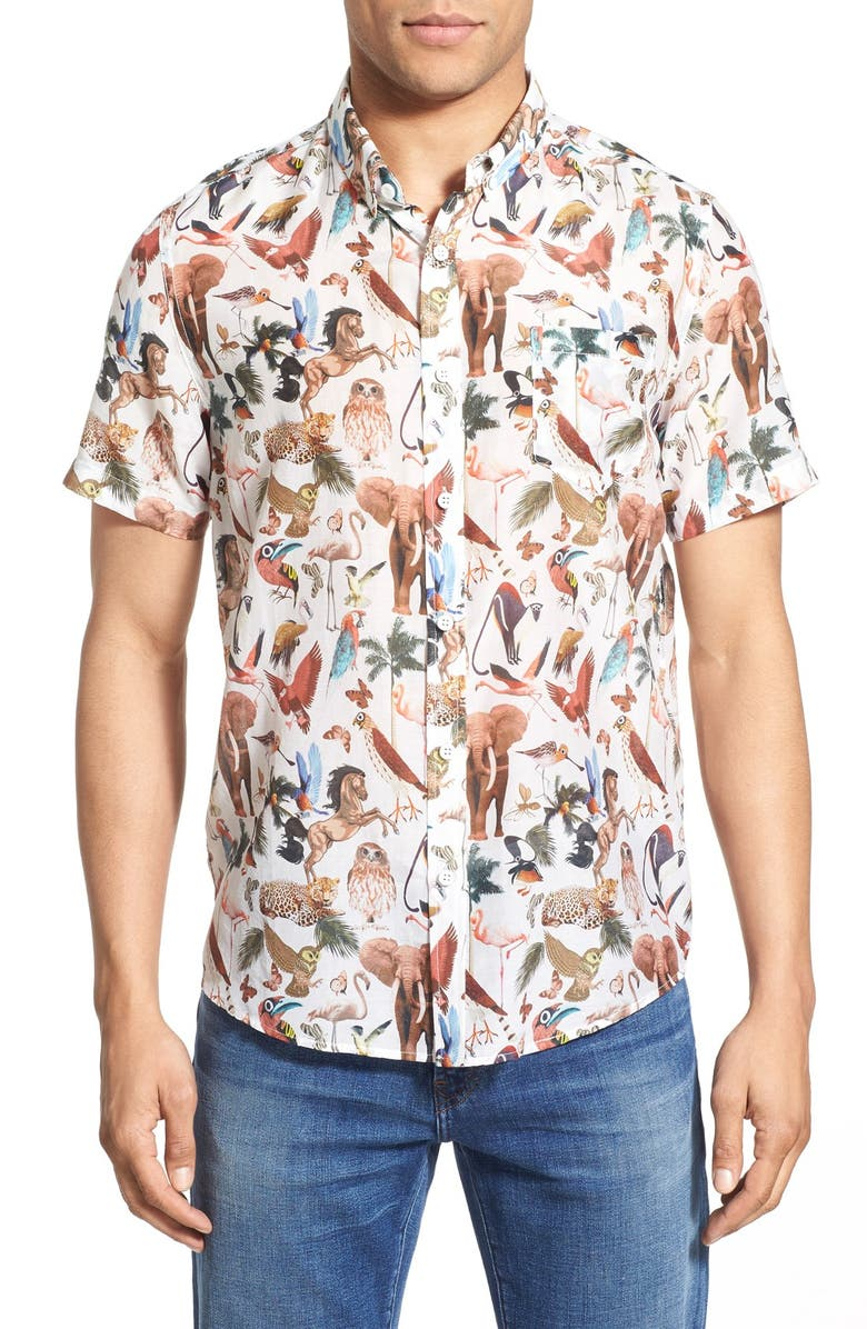 79d6581004 Oxford Lads  Jungle Animals  Trim Fit Short Sleeve Print Woven Shirt ...