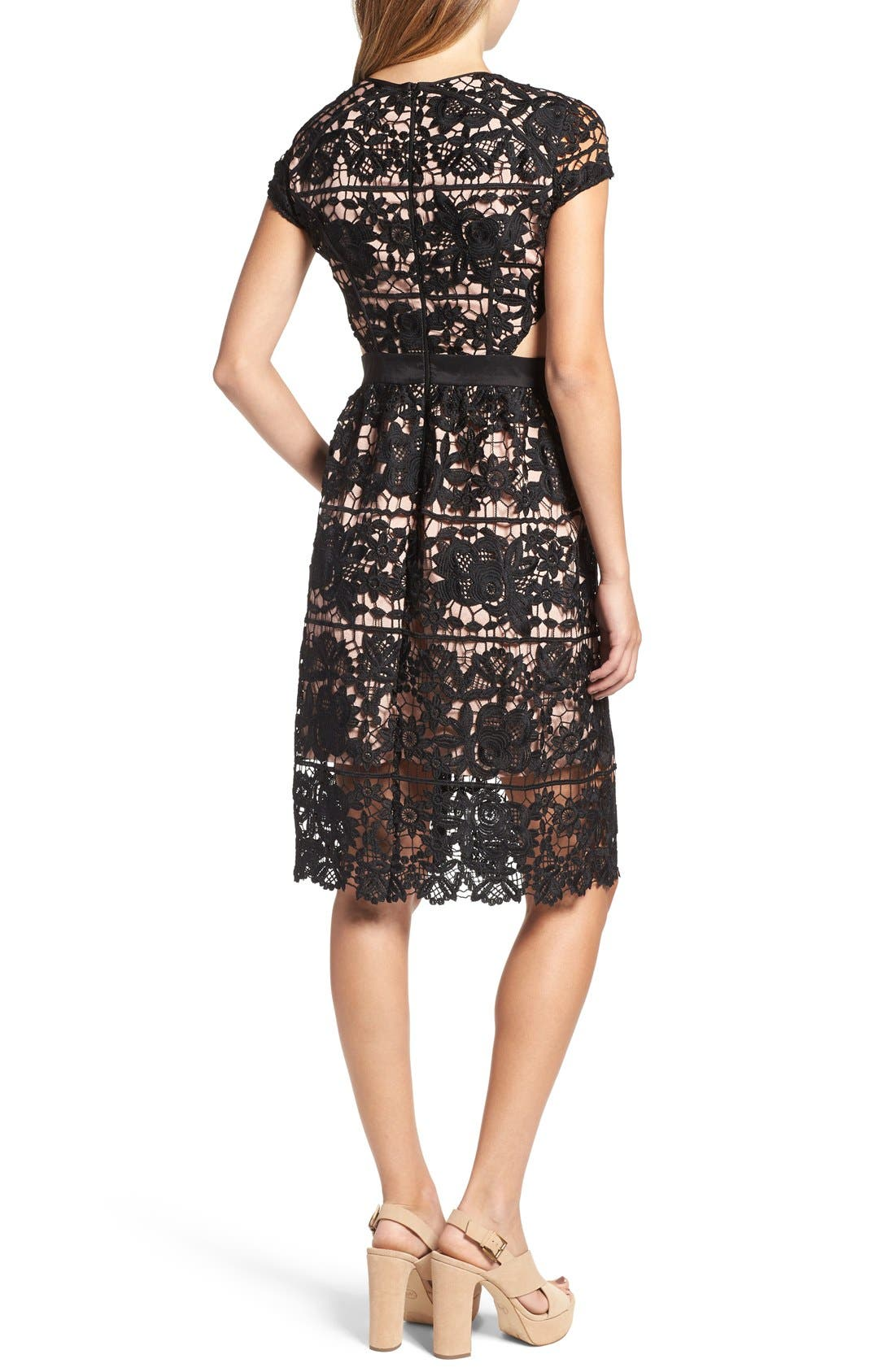 'Rodan' Lace Fit & Flare Dress,                             Alternate thumbnail 3, color,                             001