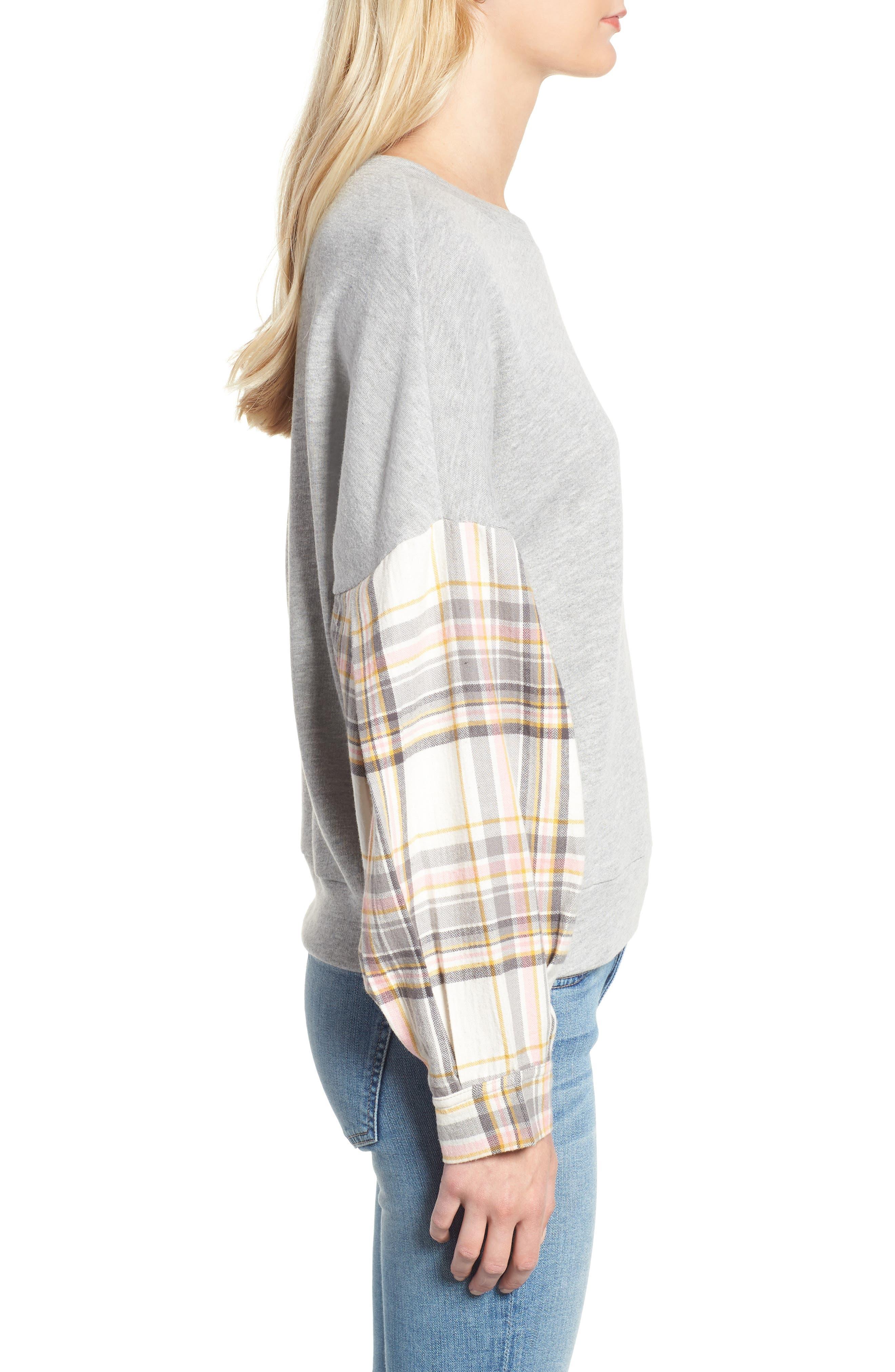 Flannel Sleeve Sweatshirt,                             Alternate thumbnail 3, color,                             030