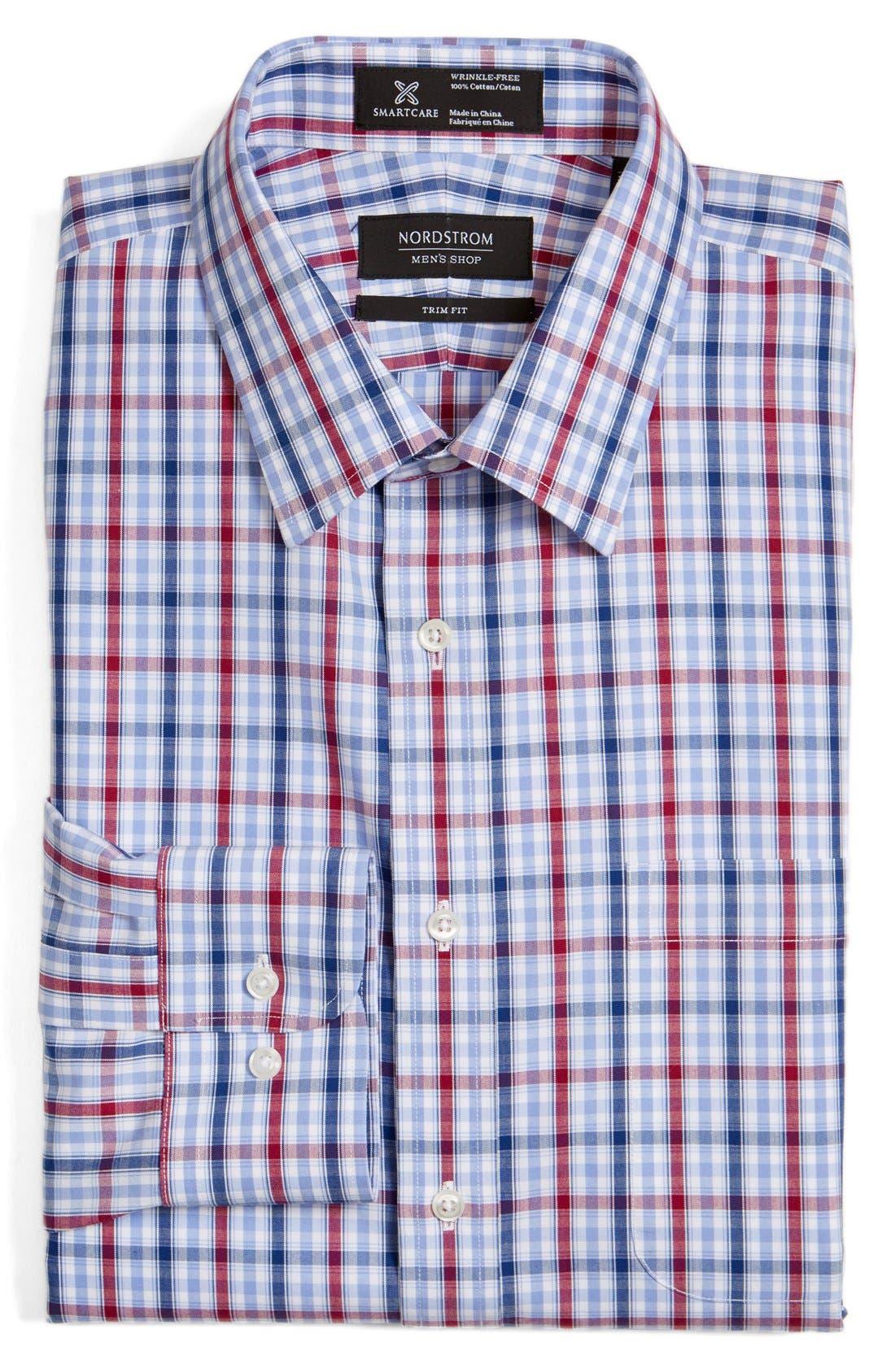 Smartcare<sup>™</sup> Trim Fit Plaid Dress Shirt,                         Main,                         color, 938