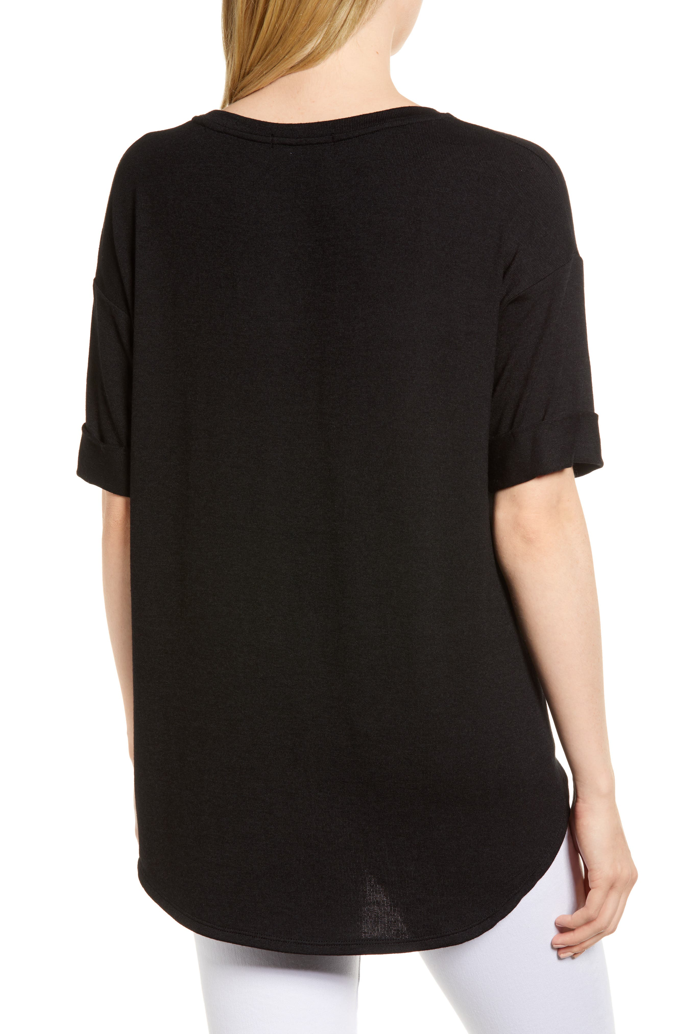 High/Low Short Sleeve Top,                             Alternate thumbnail 2, color,                             001