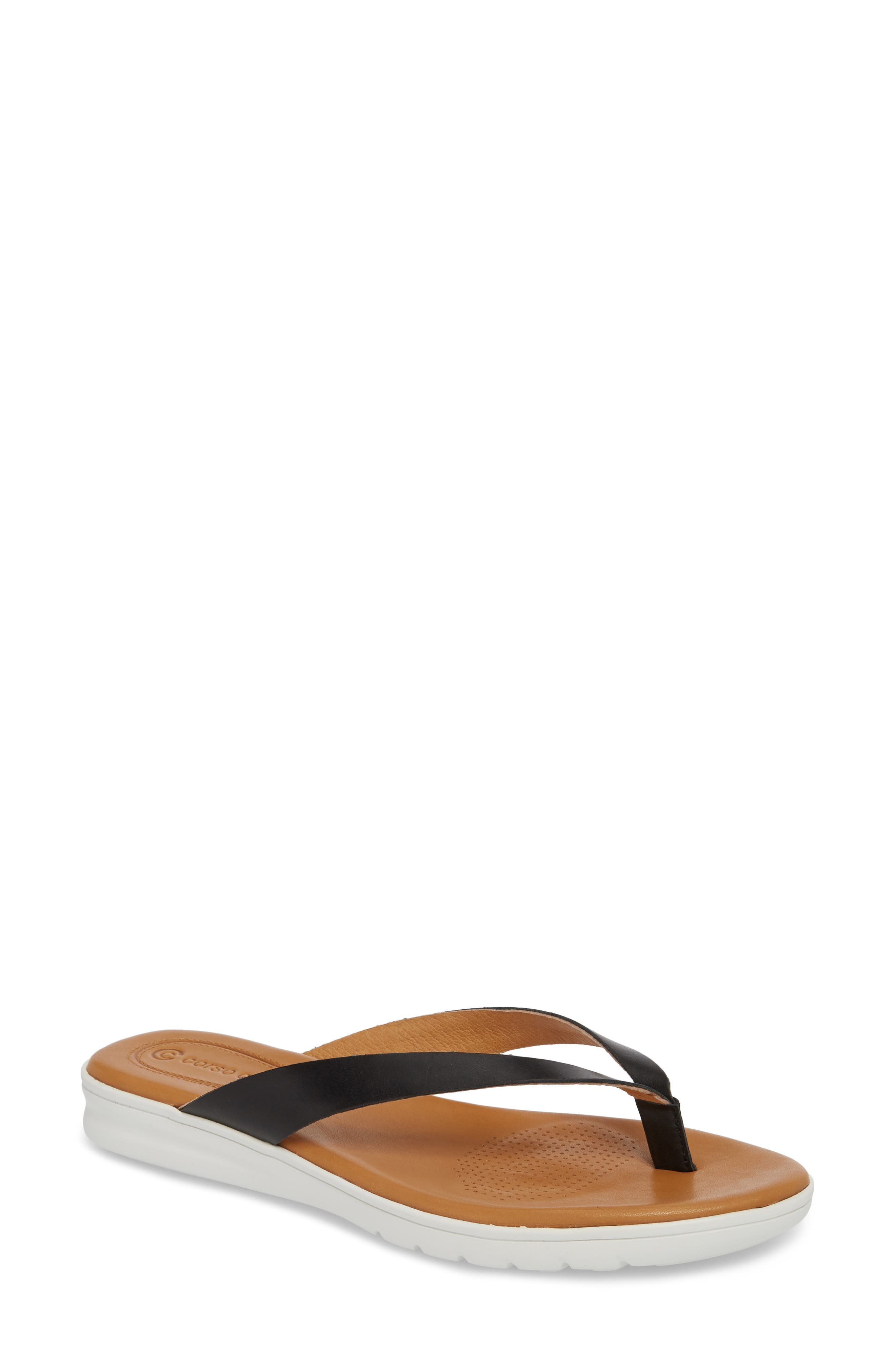 Tinnah Flip Flop,                         Main,                         color, BLACK/ BLACK LEATHER