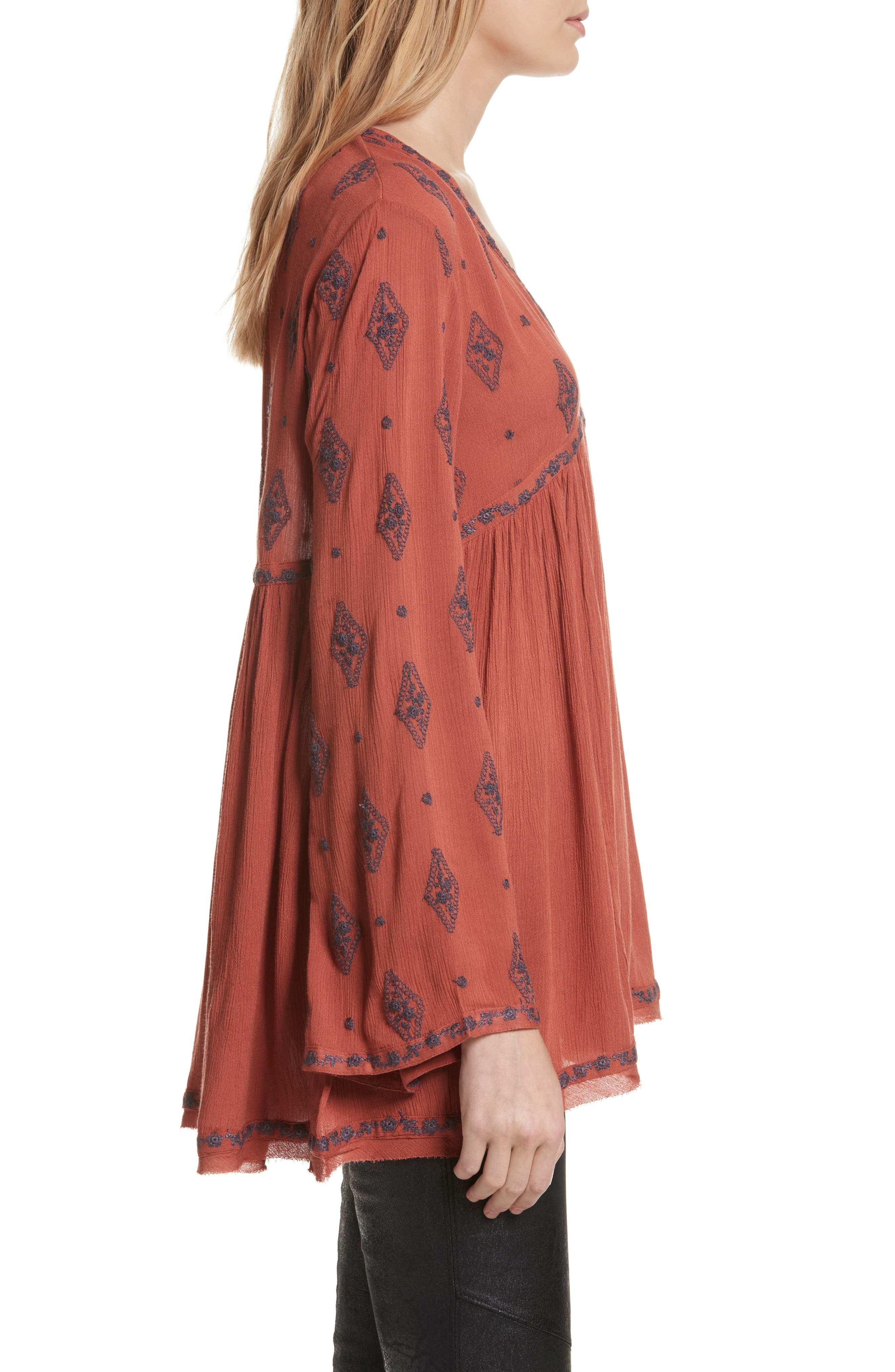 Embroidered Bell Sleeve Top,                             Alternate thumbnail 12, color,