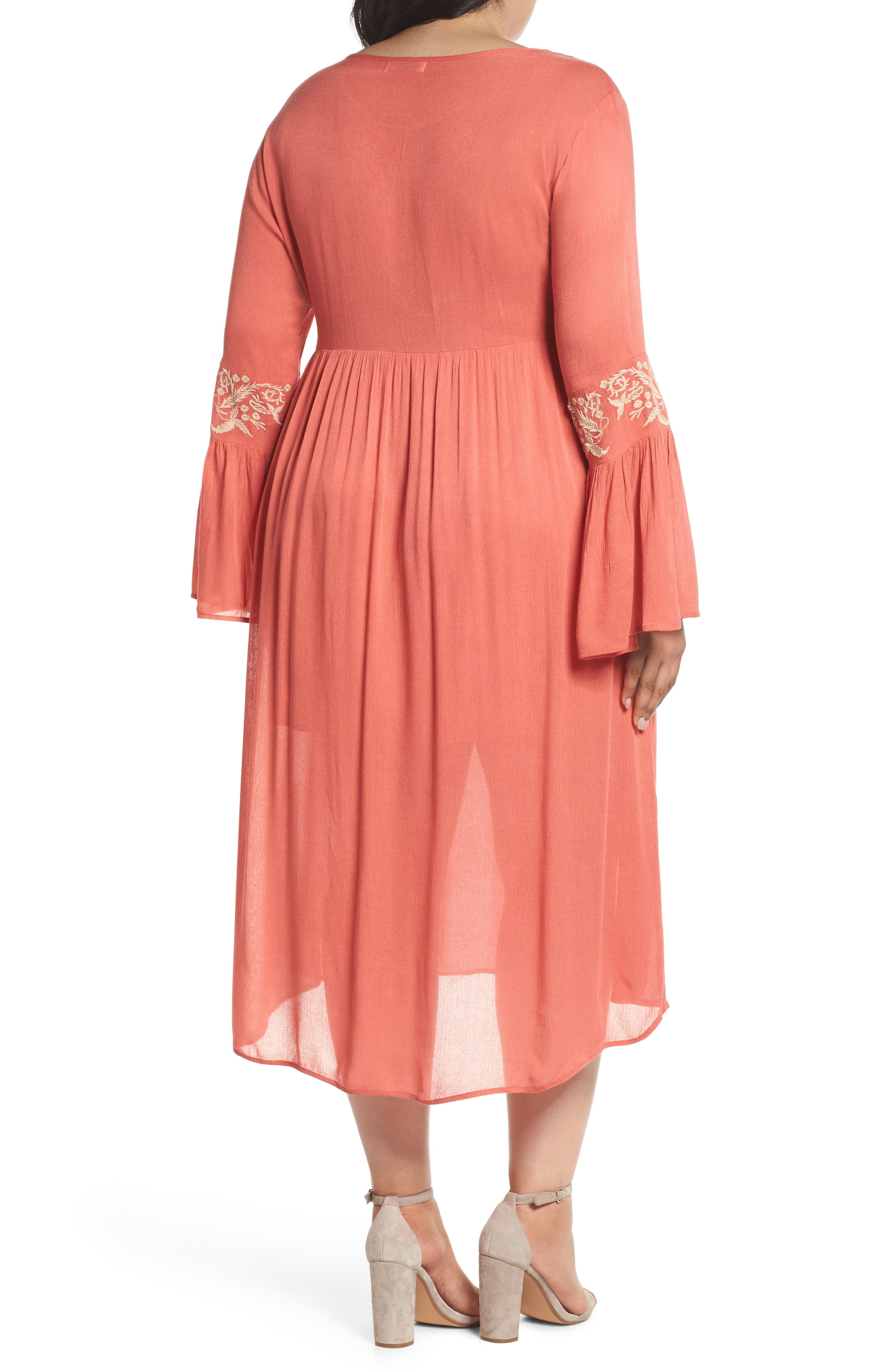 Embroidered Bell Sleeve Midi Dress,                             Alternate thumbnail 2, color,                             950