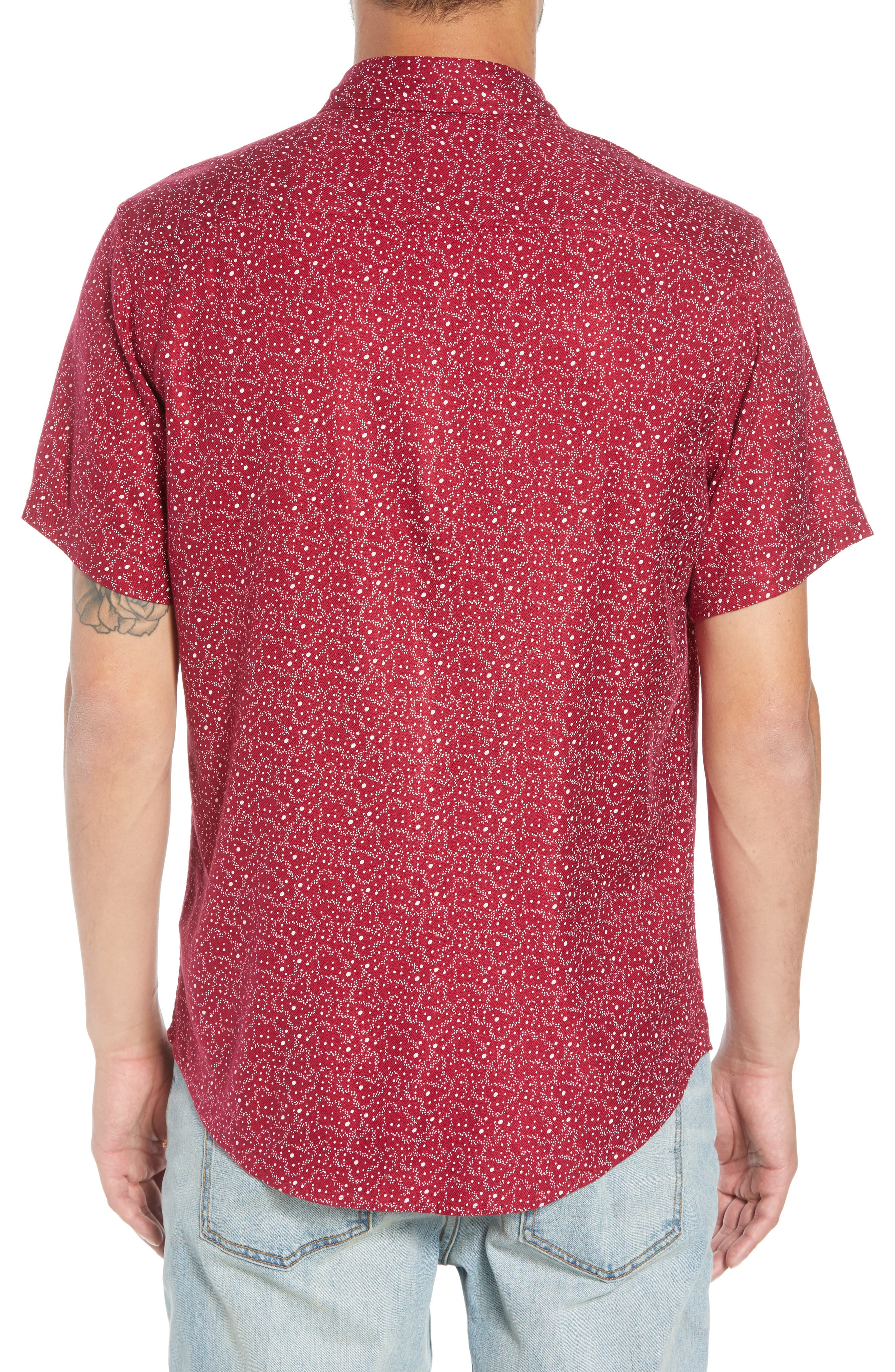 Trim Fit Print Sport Shirt,                             Alternate thumbnail 2, color,                             RED RUMBA CENTAURI