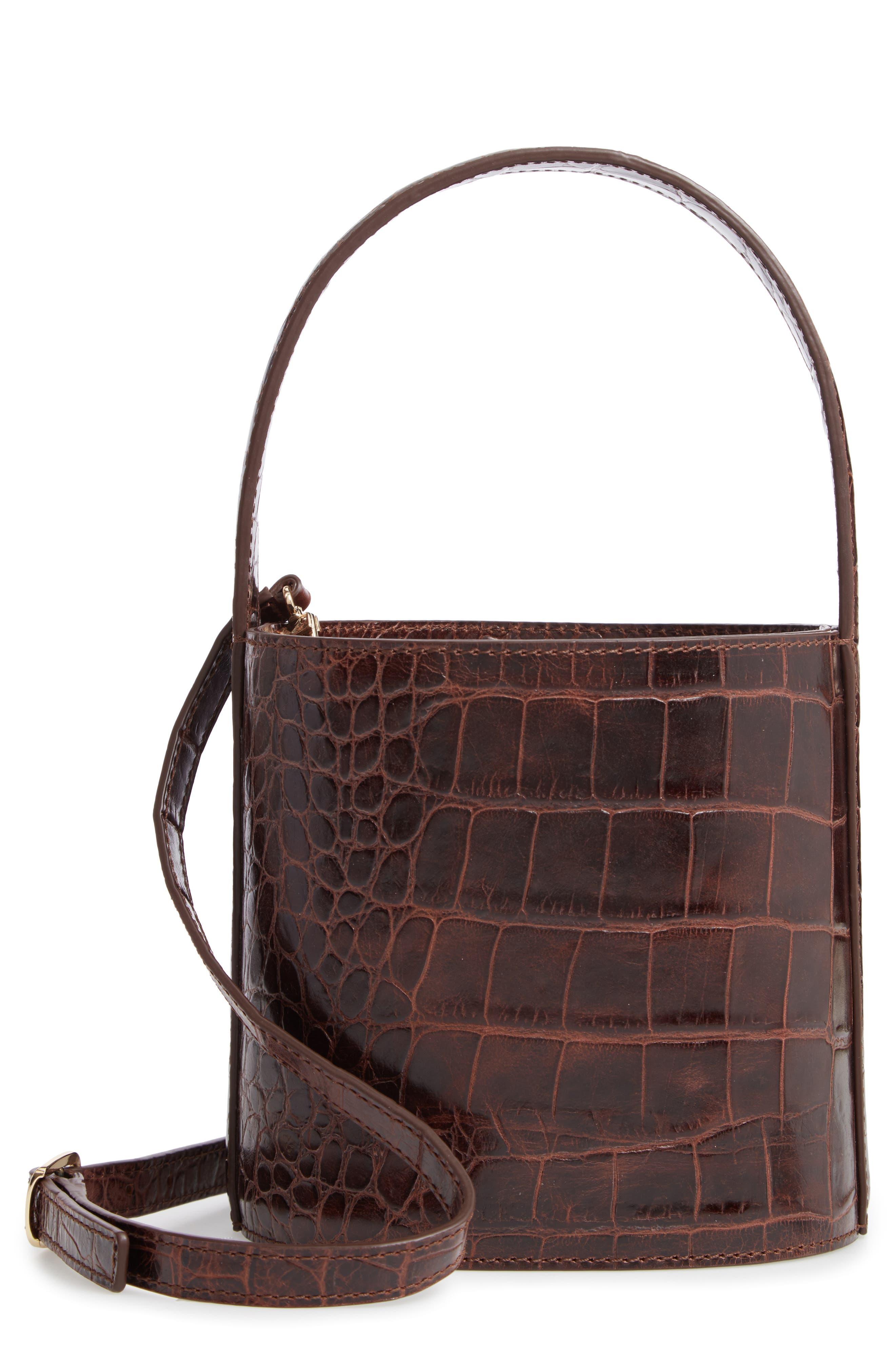 Bissett Croc Embossed Leather Bucket Bag - Brown