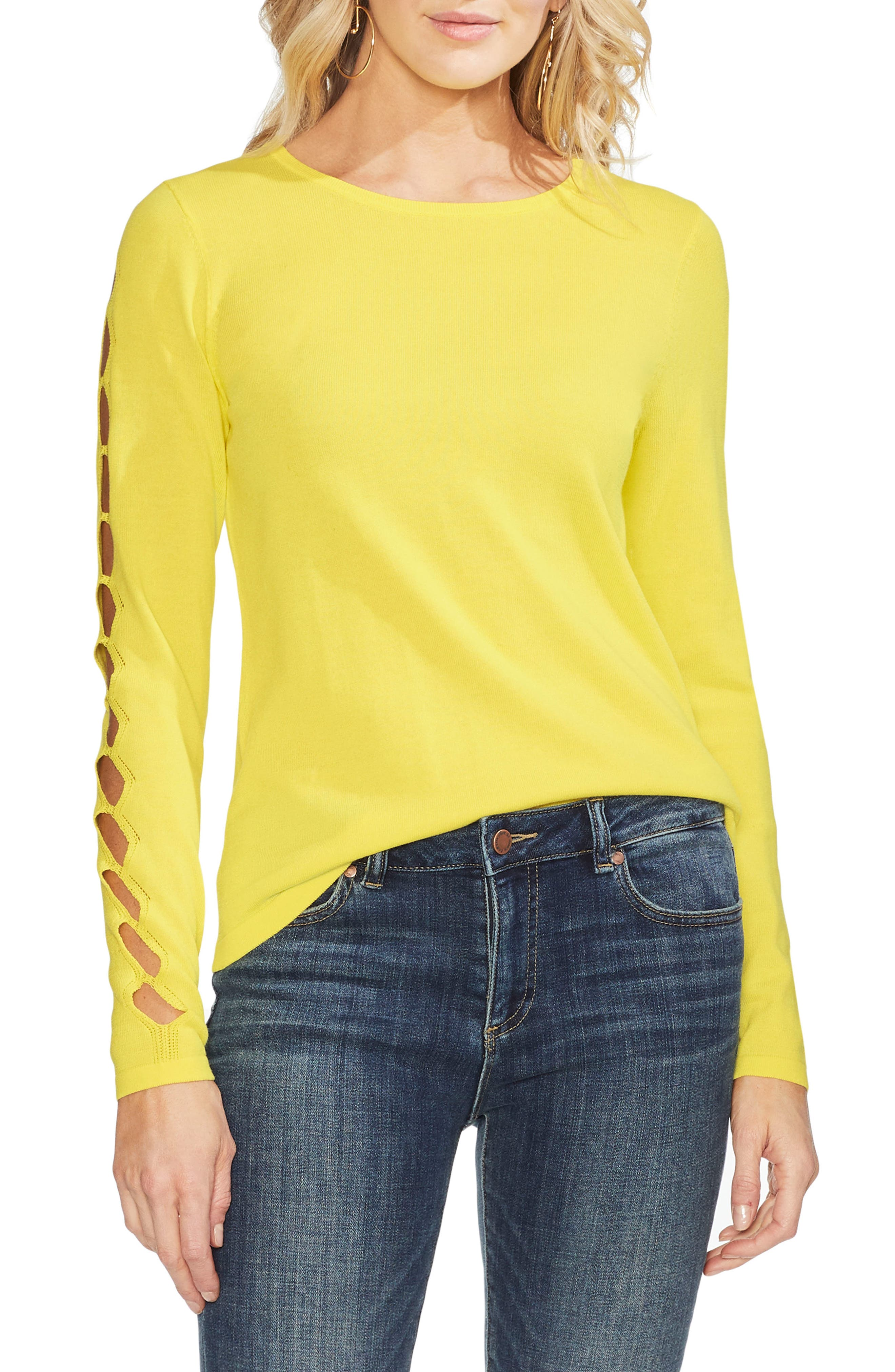 Vince Camuto Cutout Sleeve Sweater, Yellow