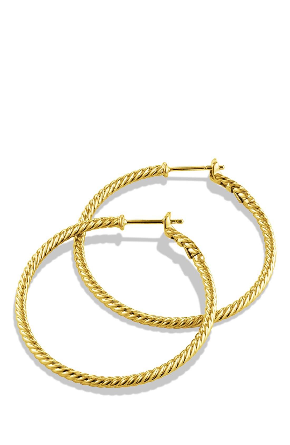 DAVID YURMAN,                             Cable Classics Hoop Earrings,                             Alternate thumbnail 2, color,                             GOLD
