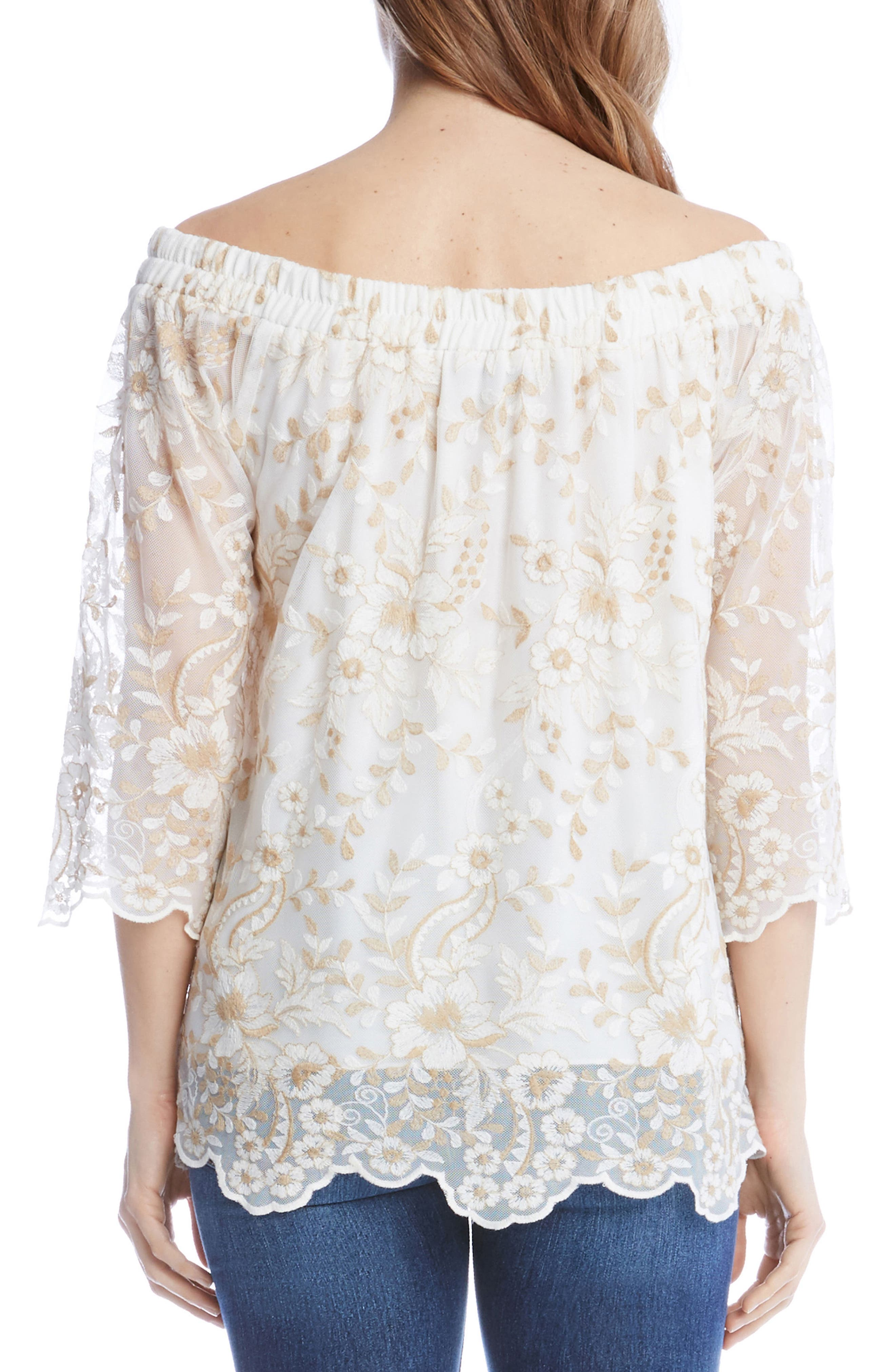 Embroidered Mesh Off the Shoulder Top,                             Alternate thumbnail 2, color,                             101