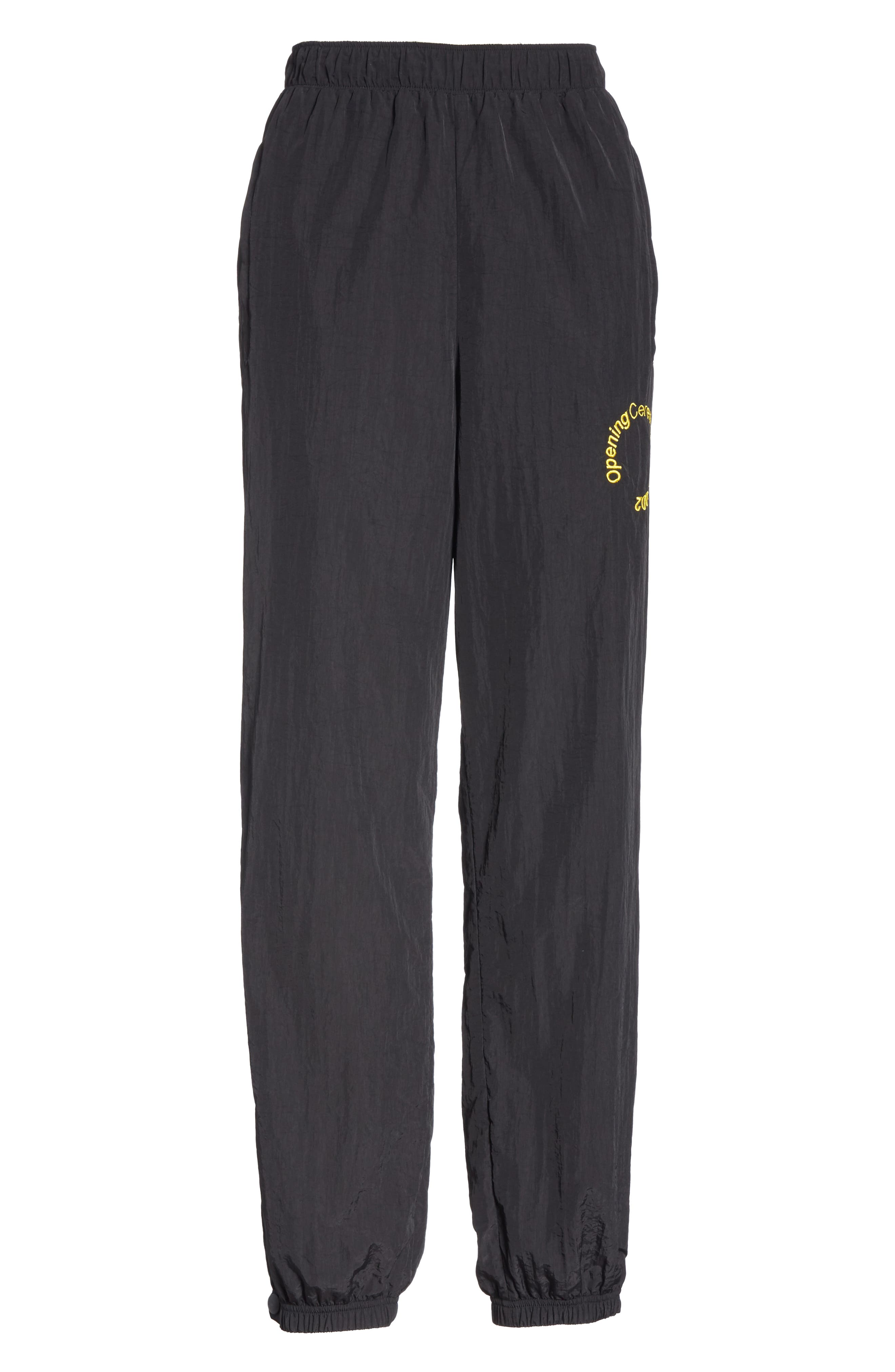 Crinkle Nylon Jogging Pants,                             Alternate thumbnail 6, color,                             BLACK
