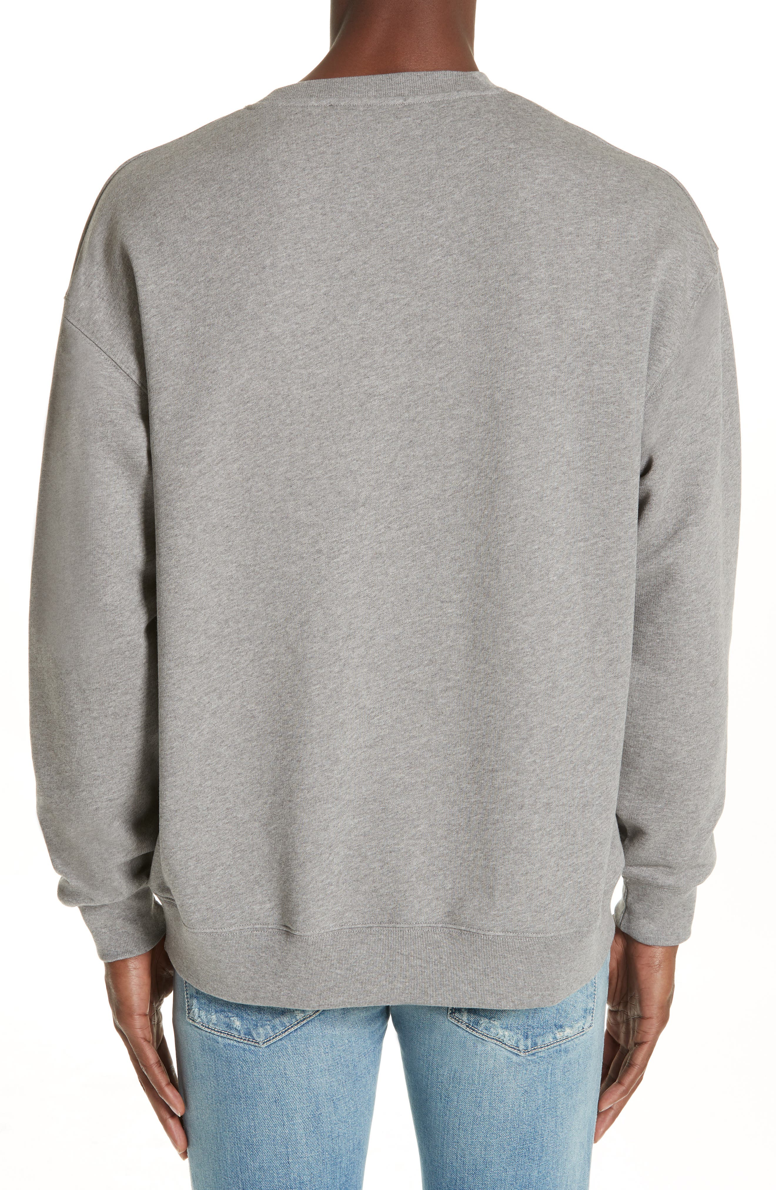 ACNE STUDIOS,                             Forba Face Sweatshirt,                             Alternate thumbnail 2, color,                             LIGHT GREY MELANGE