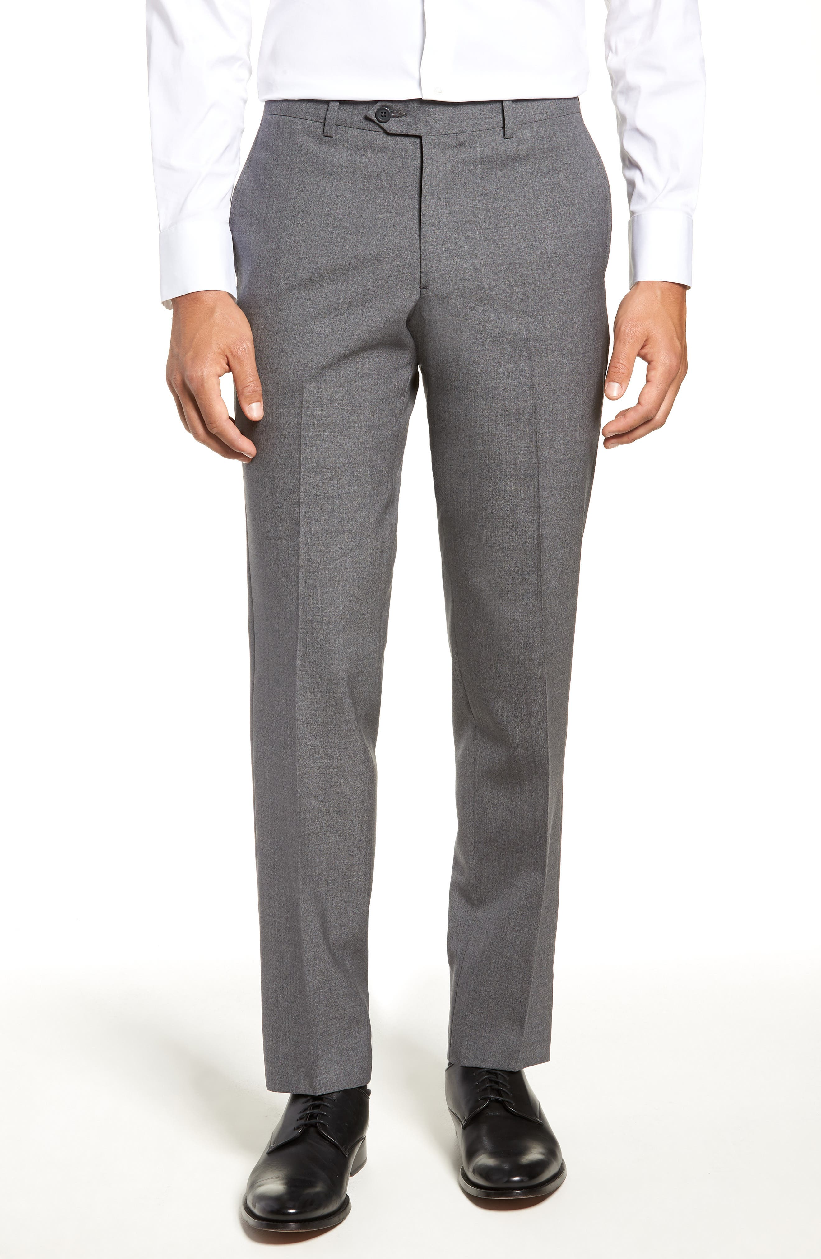 Trim Fit Flat Front Wool Trousers,                             Main thumbnail 1, color,                             GREY