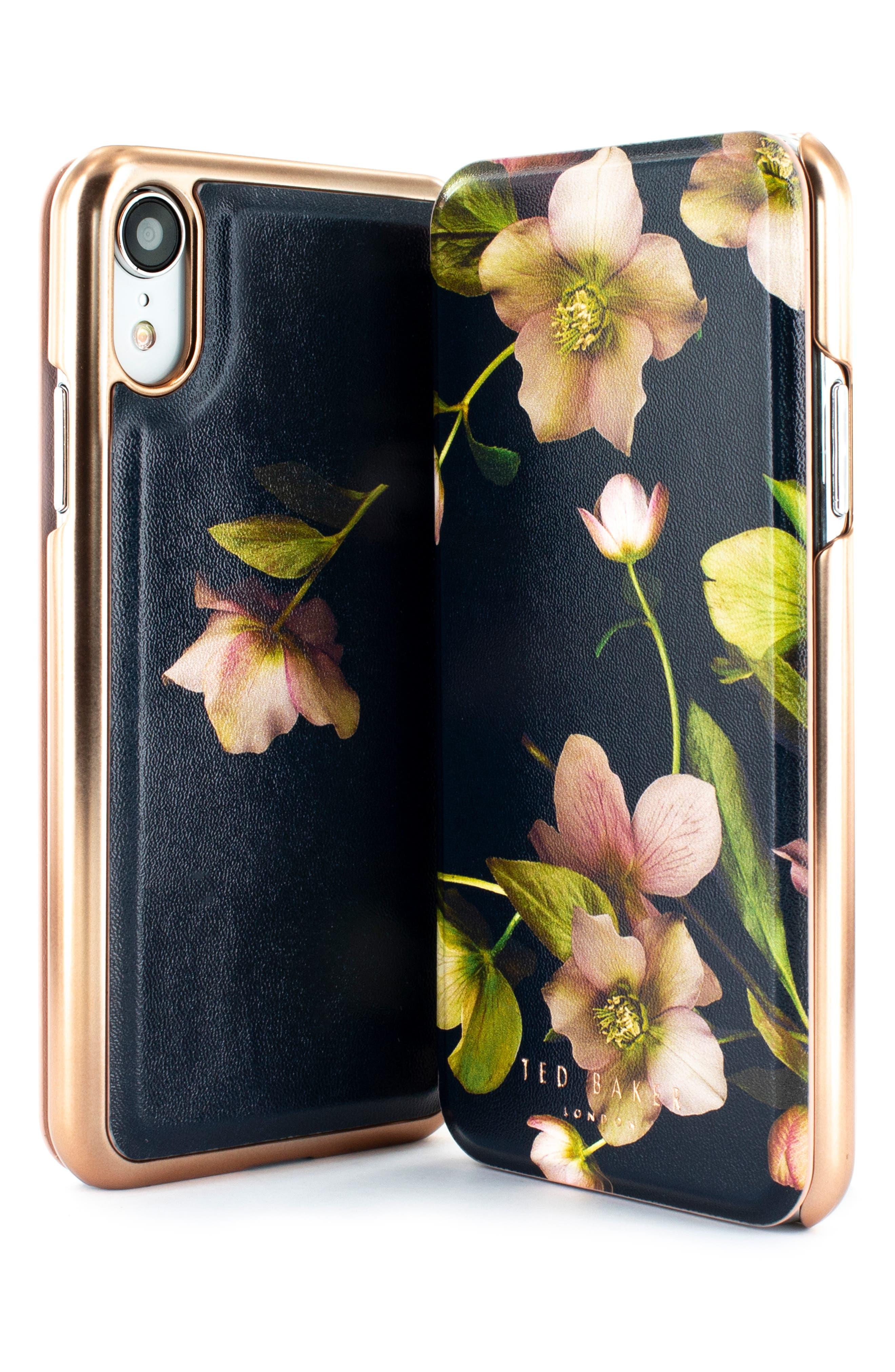 TED BAKER LONDON,                             Arboretum iPhone X/Xs/Xs Max & XR Mirror Folio Case,                             Alternate thumbnail 10, color,                             BLACK
