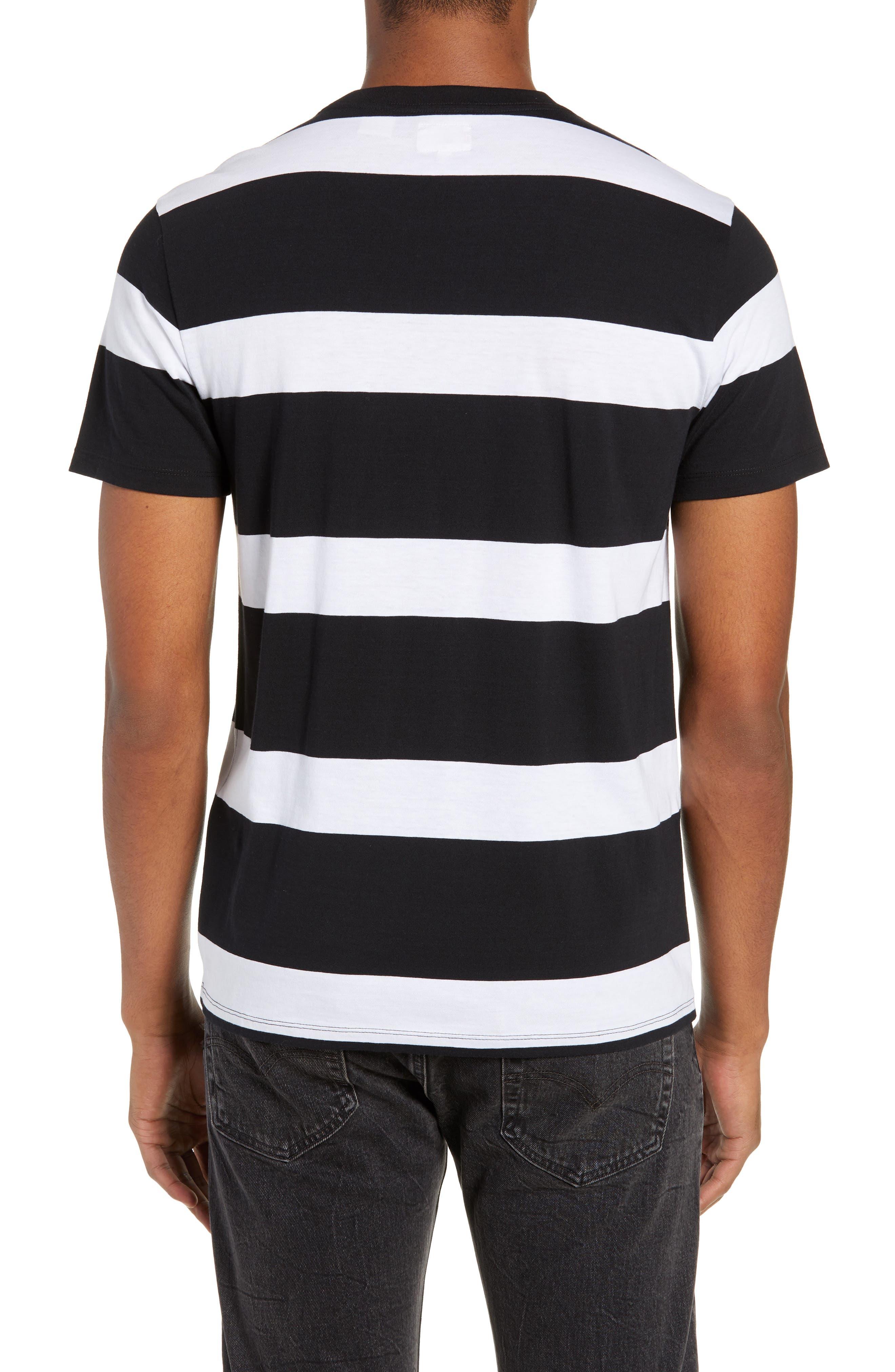 Pocket T-Shirt,                             Alternate thumbnail 2, color,                             BLACK/ WHITE STRIPES