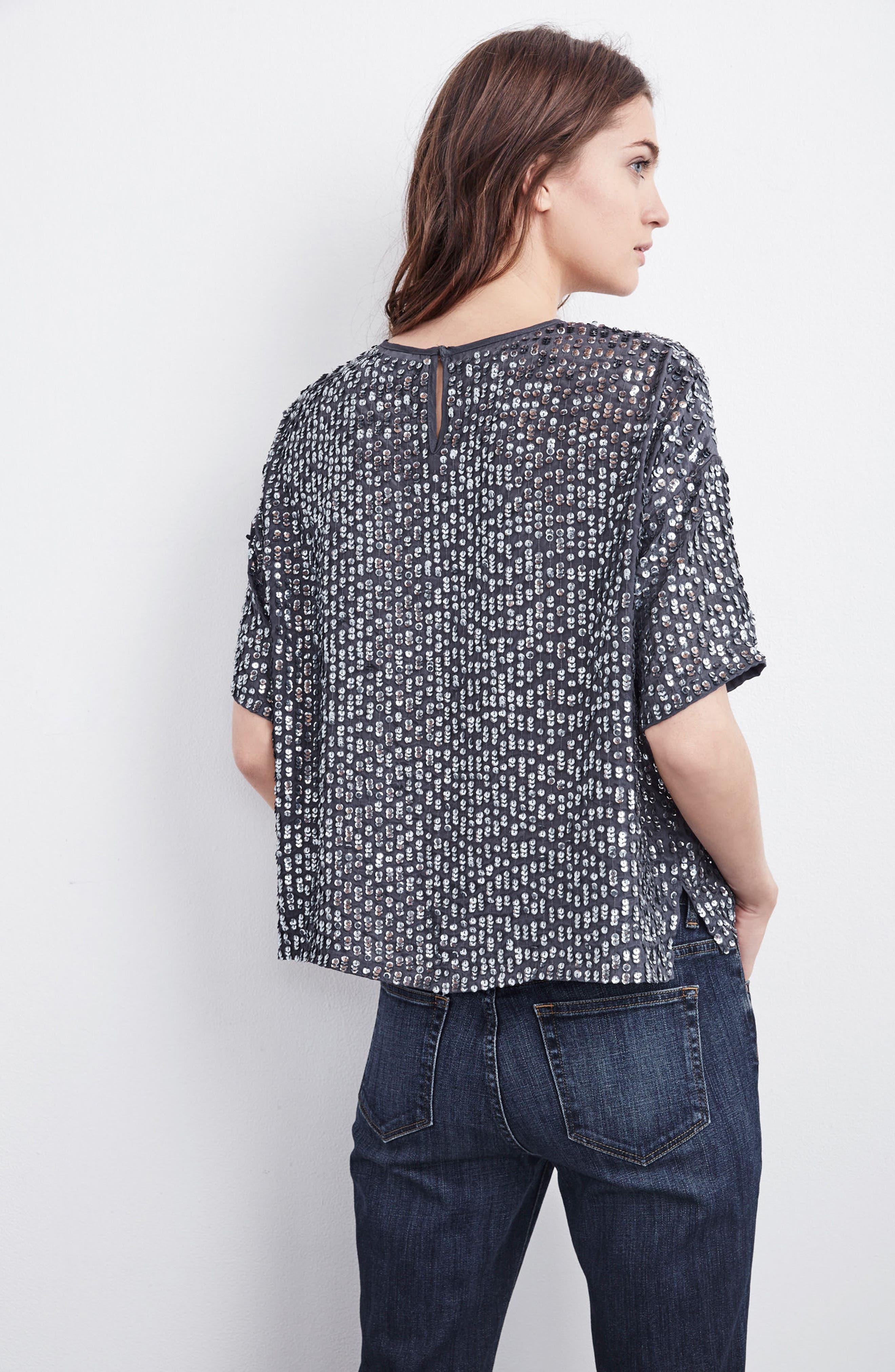 Short Sleeve Sequin Top,                             Alternate thumbnail 7, color,                             031