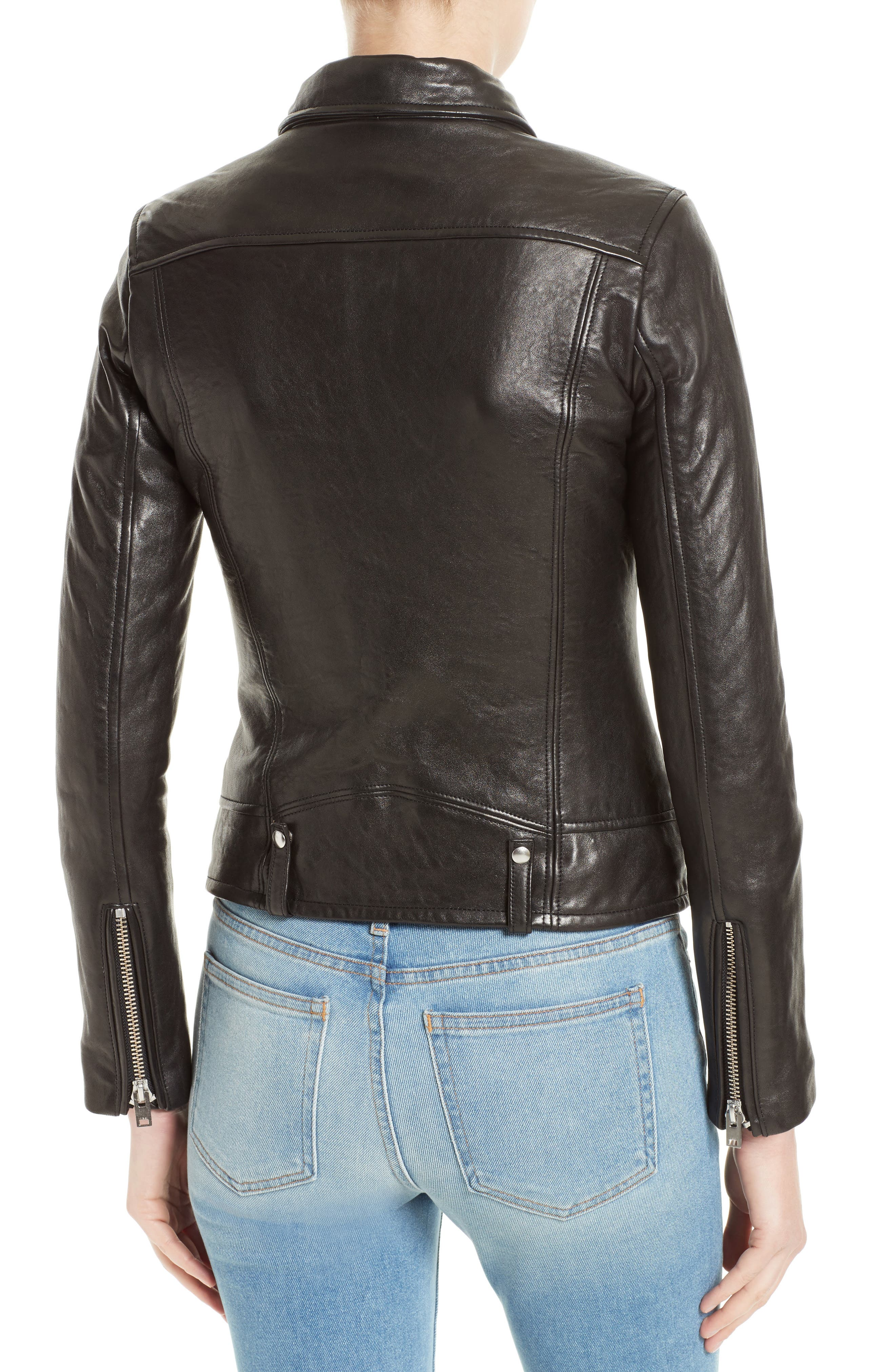 Jamie Leather Moto Jacket,                             Alternate thumbnail 2, color,                             001