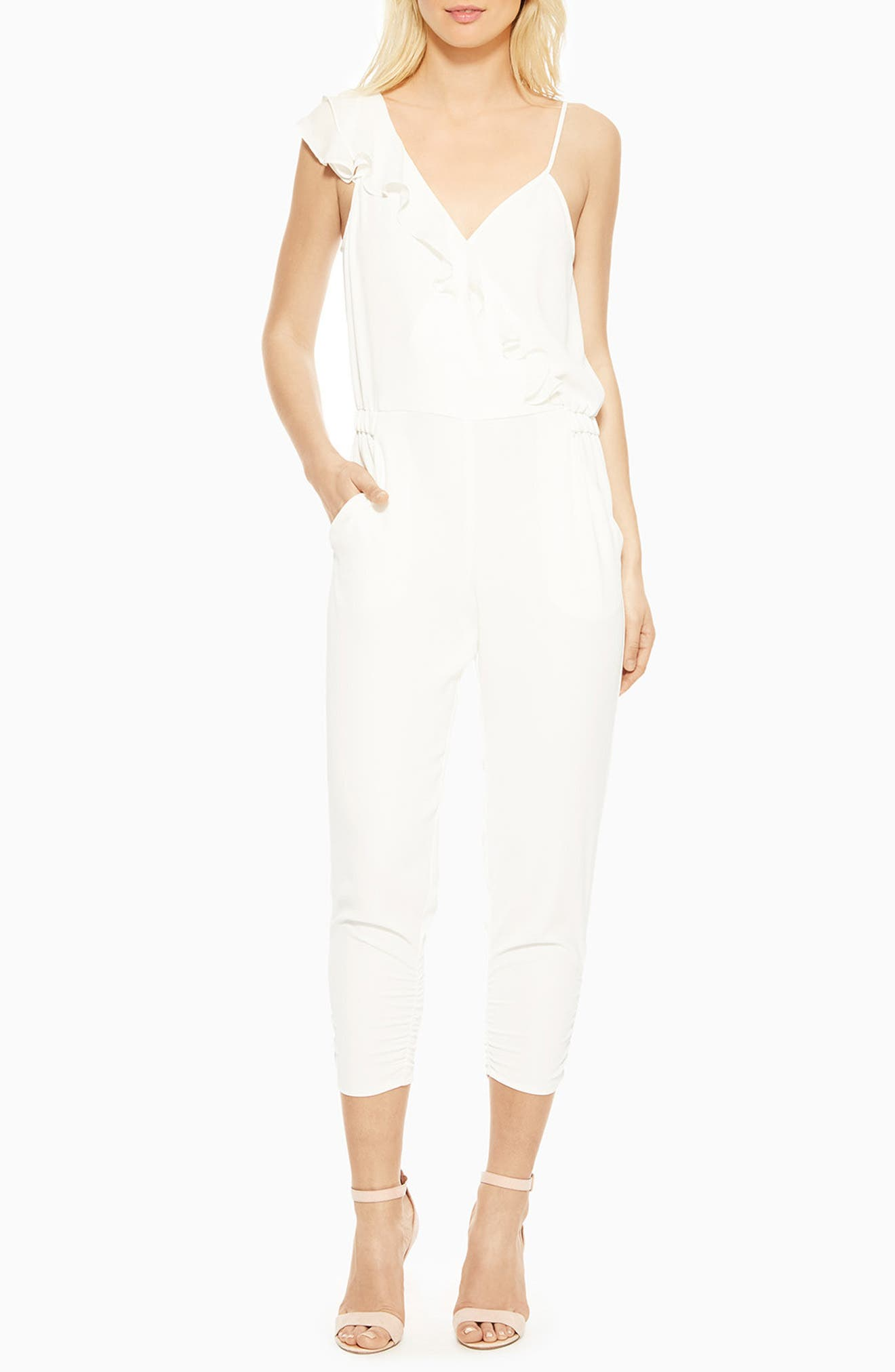 Addison Ruffle Jumpsuit,                         Main,                         color, PEARL