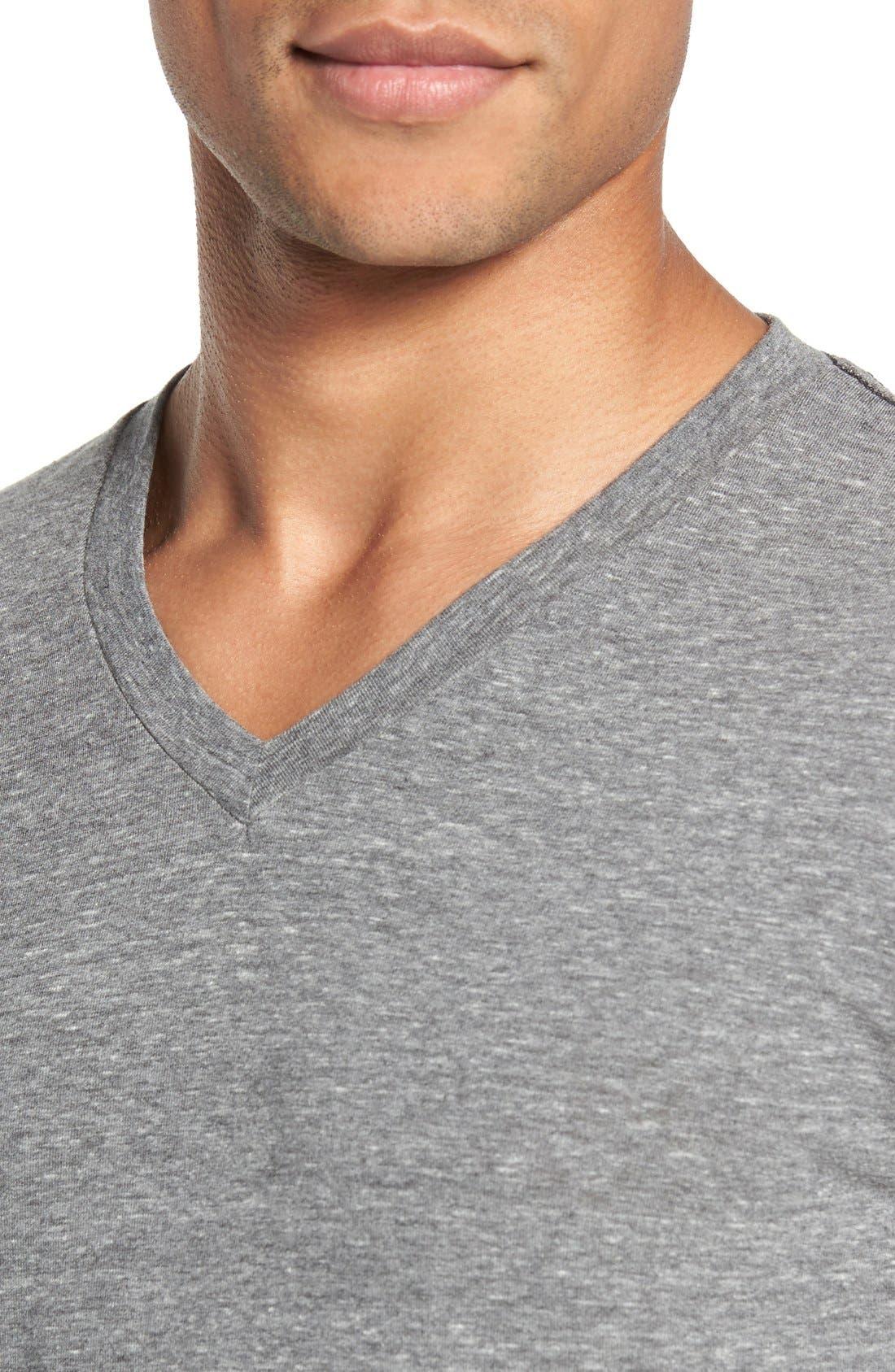Scallop Triblend V-Neck T-Shirt,                             Alternate thumbnail 5, color,                             HEATHER GREY