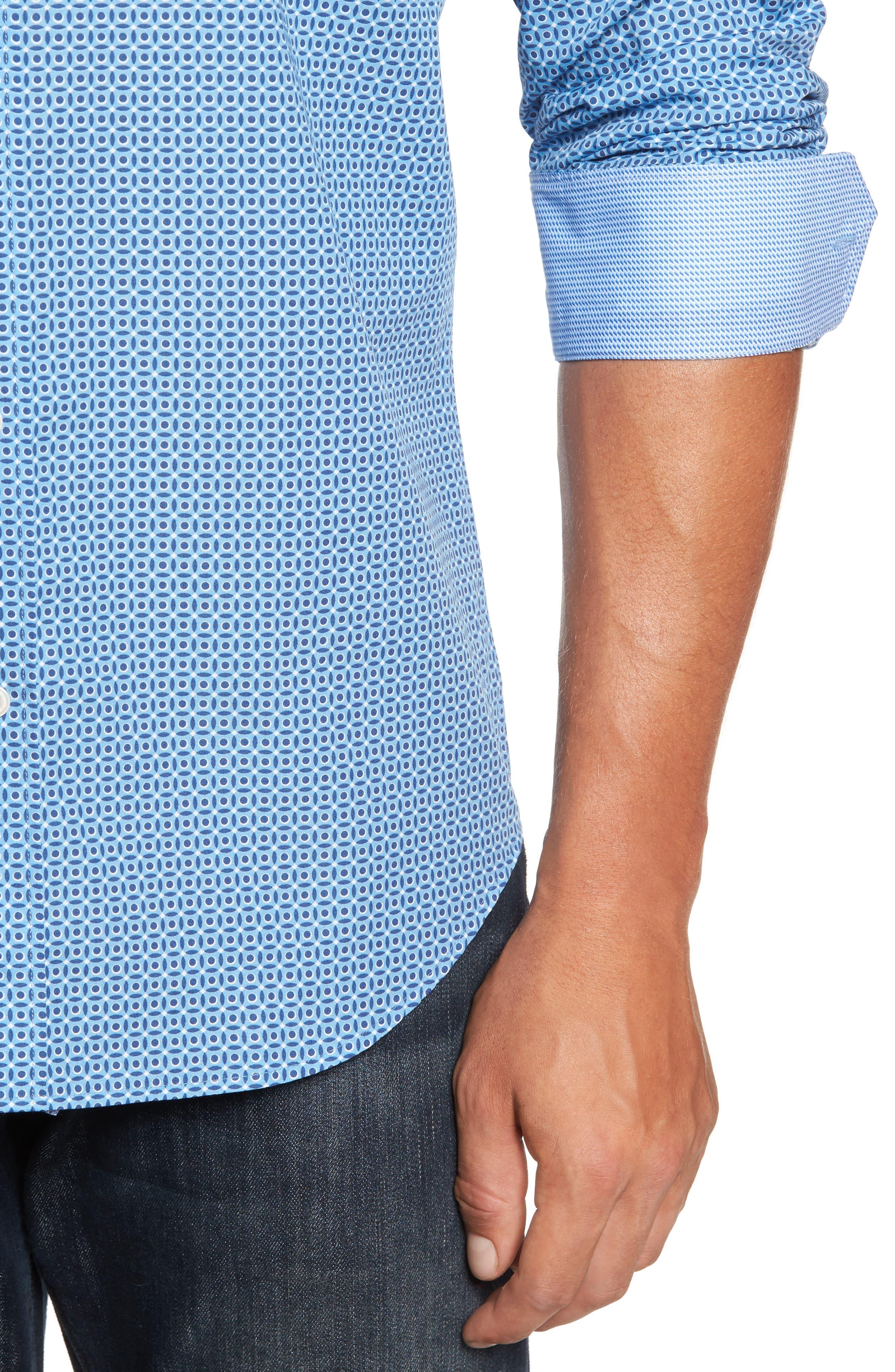 Trim Fit Dot Print Sport Shirt,                             Alternate thumbnail 4, color,                             400